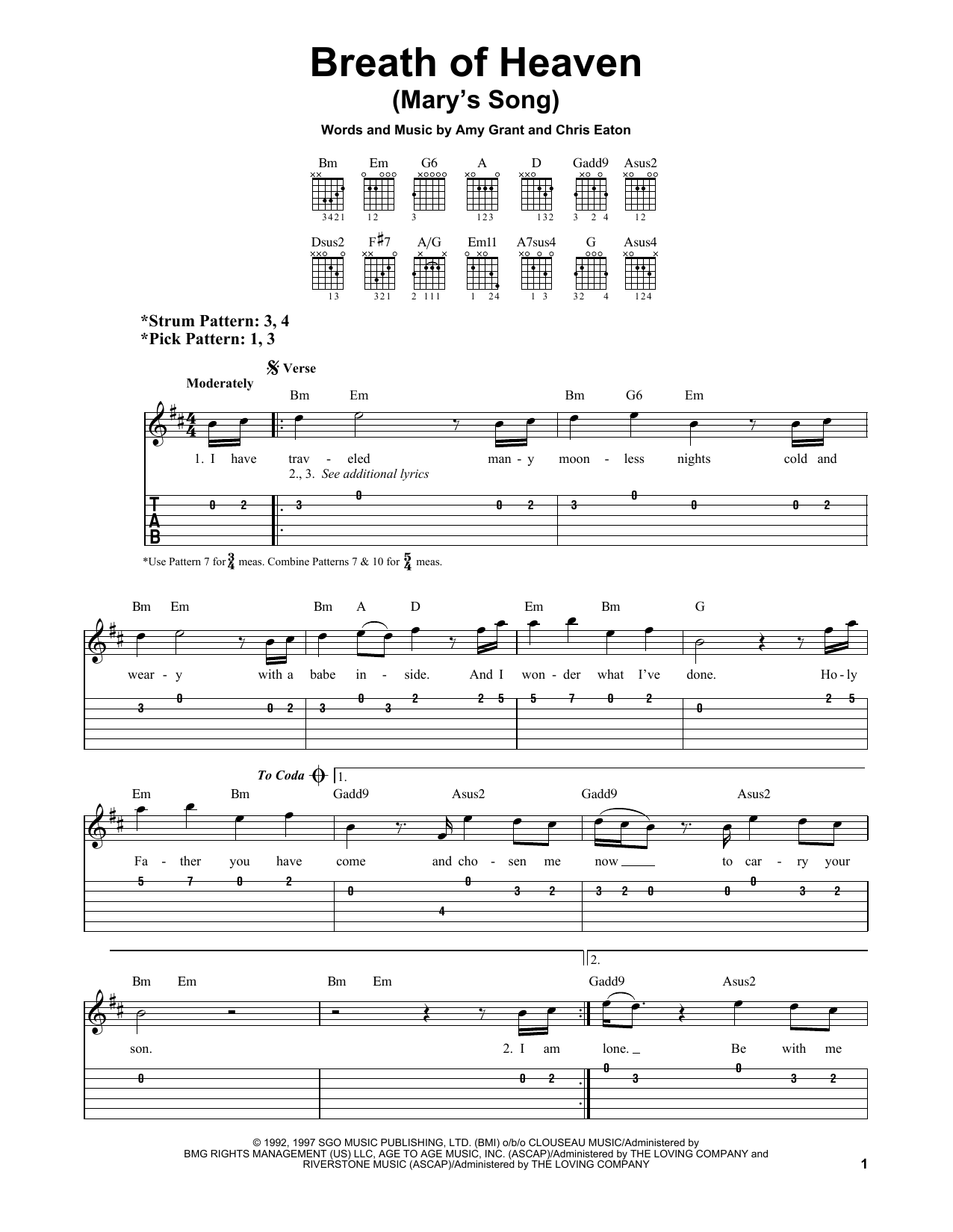 Breath Of Heaven (Mary's Song) (Easy Guitar Tab)
