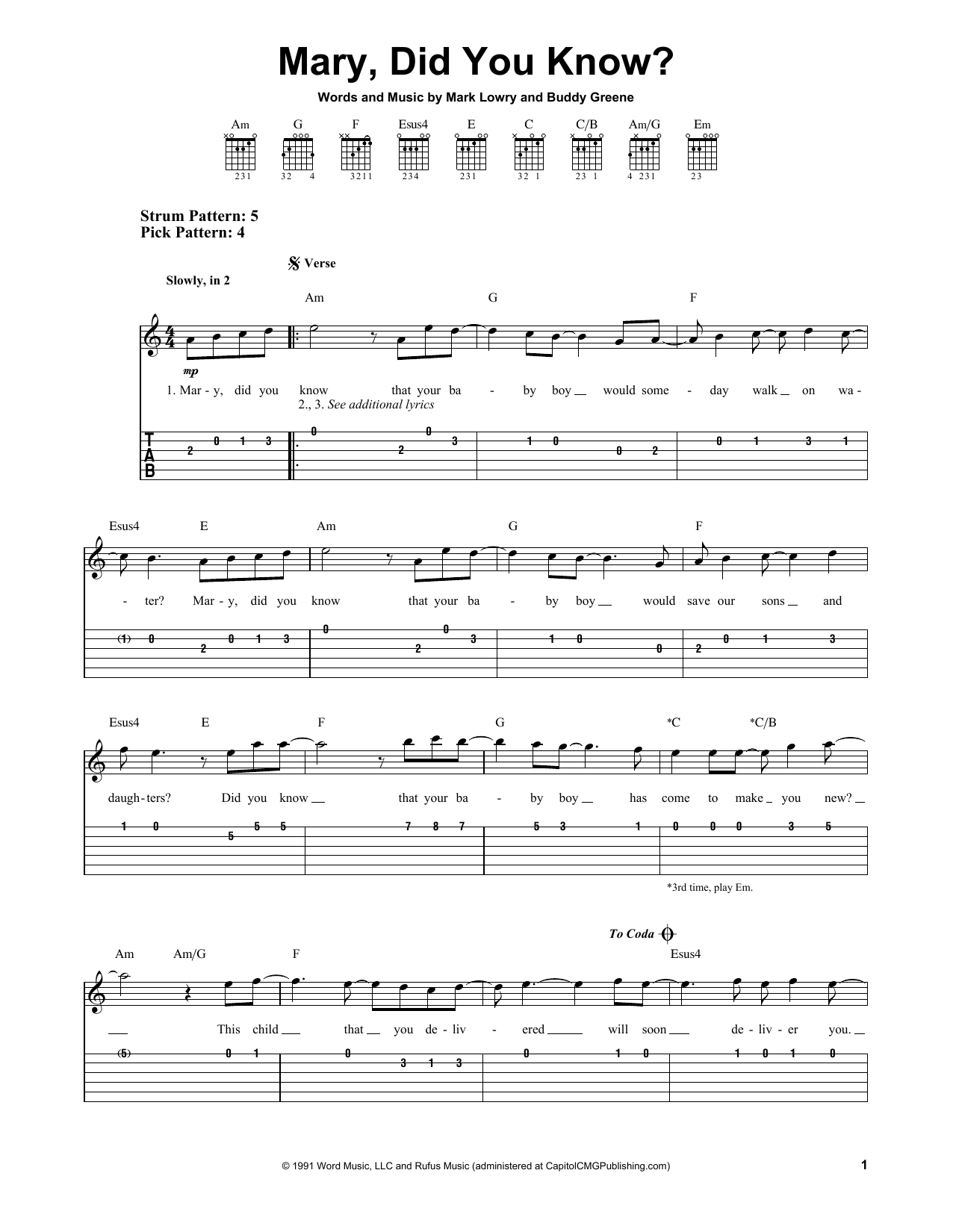 Mary Did You Know By Mark Lowry Easy Guitar Tab Guitar Instructor