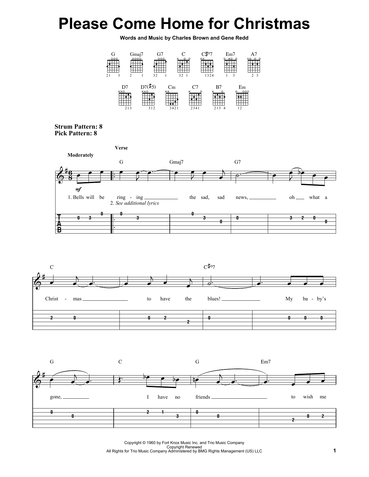 Charles brown please come home for christmas - Charles Brown Please Come Home For Christmas Easy Guitar Tab