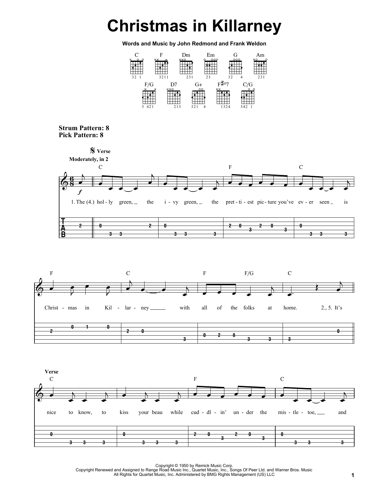 Christmas In Killarney (Easy Guitar Tab)