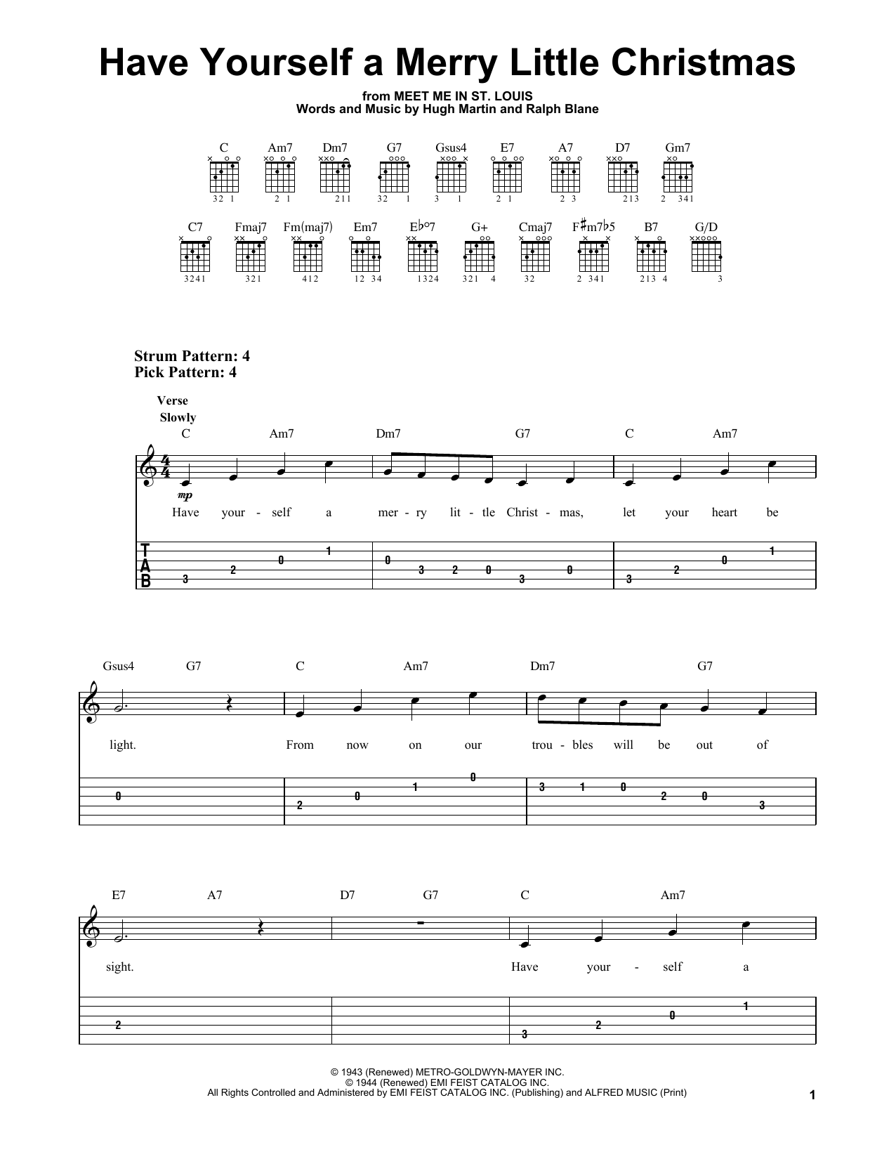 have yourself a merry little christmas sheet music - Have Yourself A Merry Little Christmas Tab
