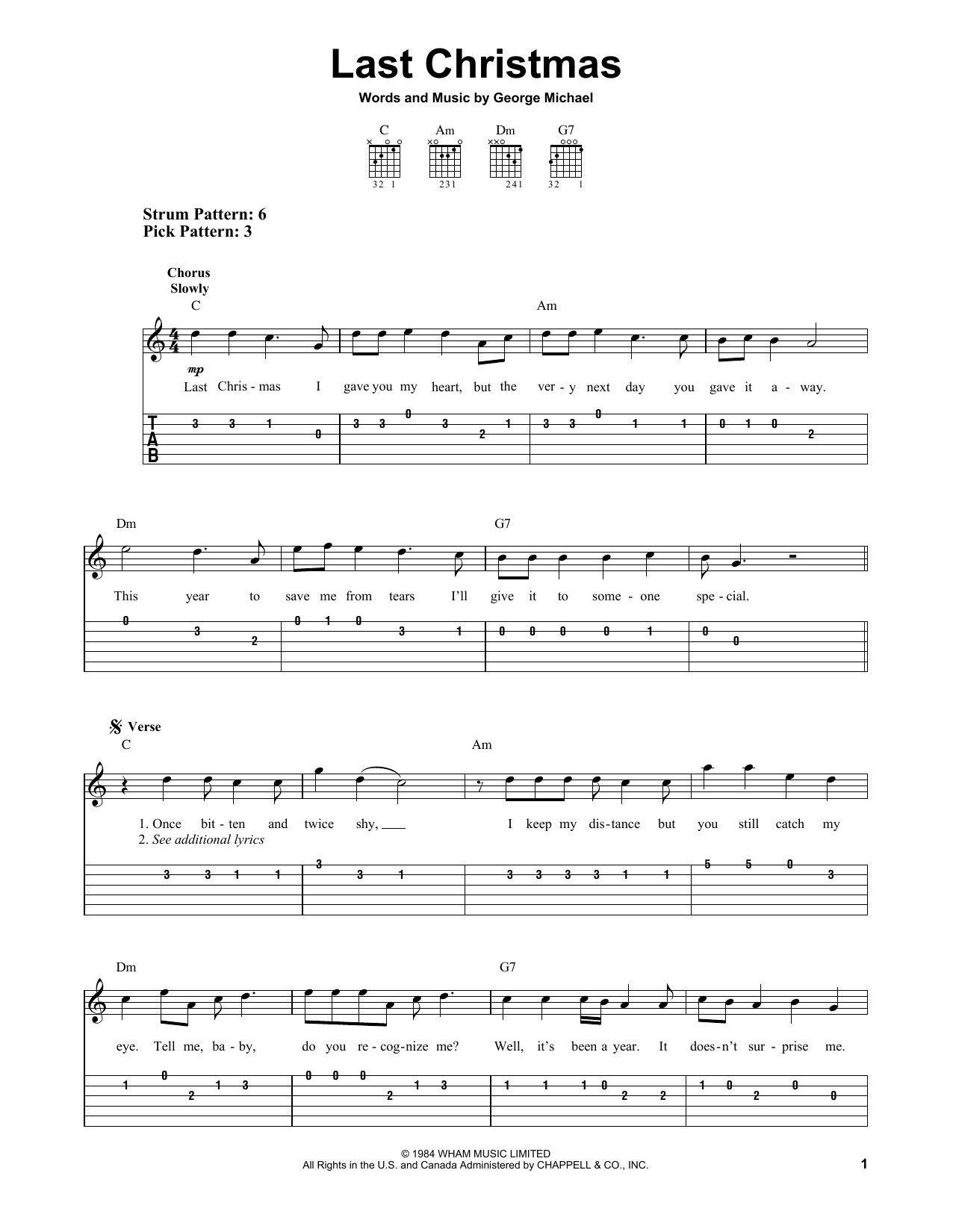 Last Christmas (Easy Guitar Tab)