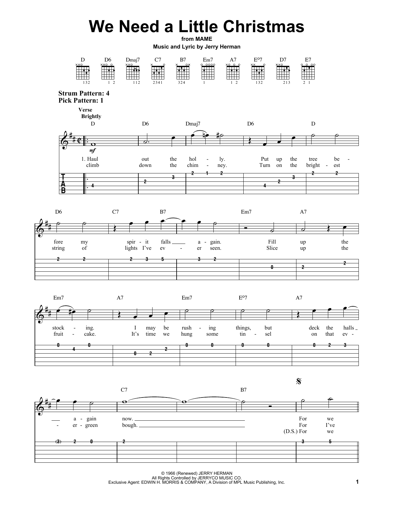 Need A Little Christmas.We Need A Little Christmas Easy Guitar Tab Print Sheet Music Now