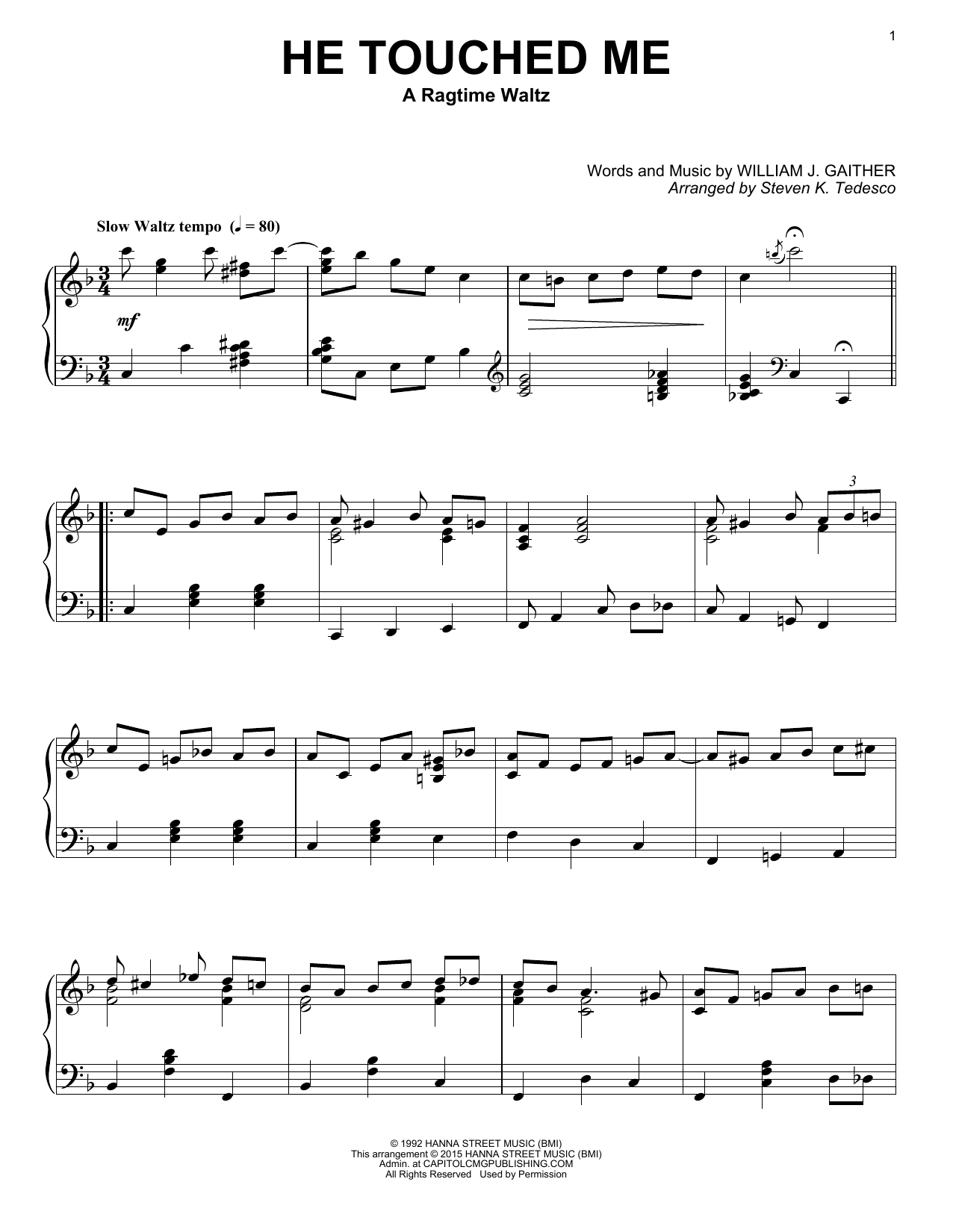 He Touched Me Sheet Music
