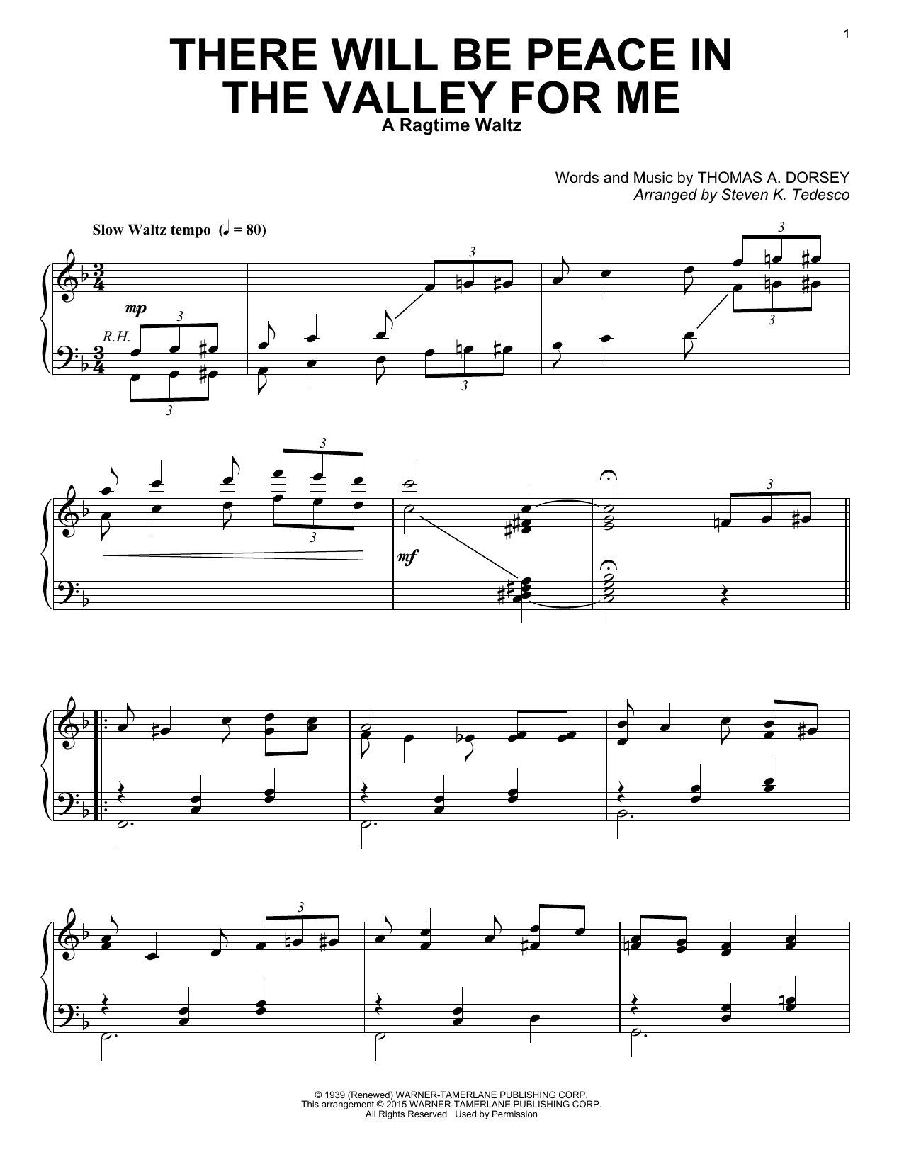 Partition piano There Will Be Peace In The Valley For Me de Steven K. Tedesco - Piano Solo