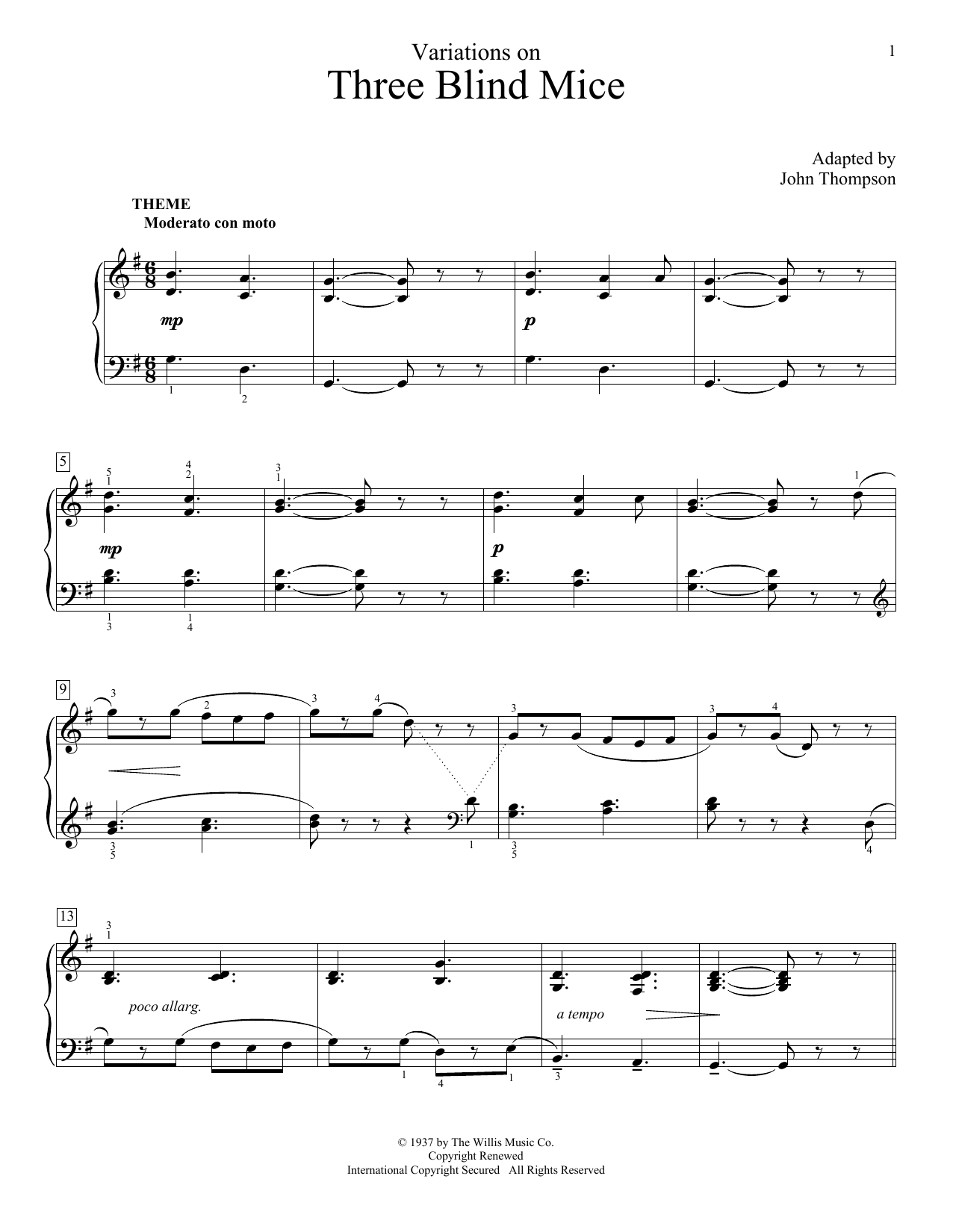 Partition piano Variations On Three Blind Mice de John Thompson - Autre