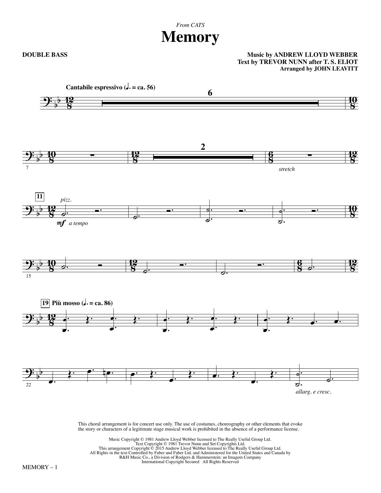 Memory - Double Bass Sheet Music