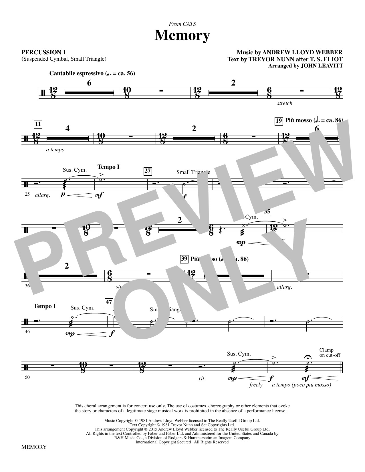 Memory (from Cats) (arr. John Leavitt) - Percussion 1 (Choir Instrumental Pak)