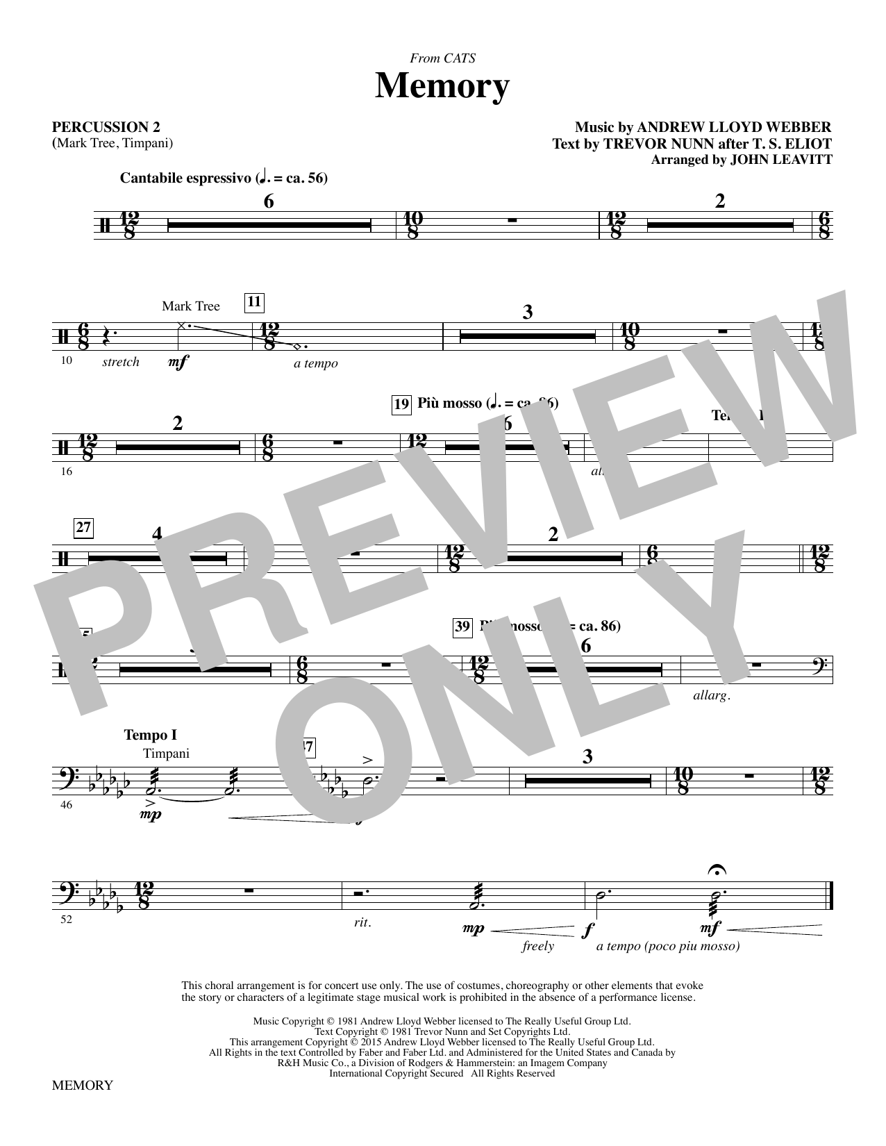 Memory - Percussion 2 Sheet Music