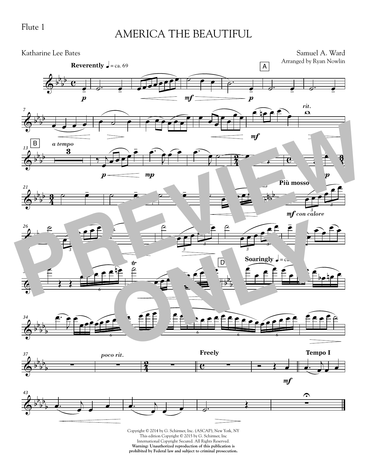 America, the Beautiful - Flute 1 Sheet Music