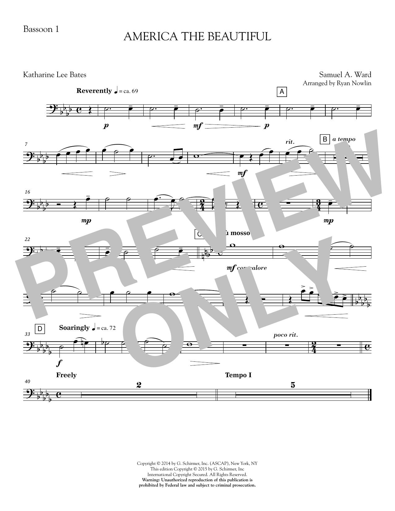 America, the Beautiful - Bassoon 1 Sheet Music