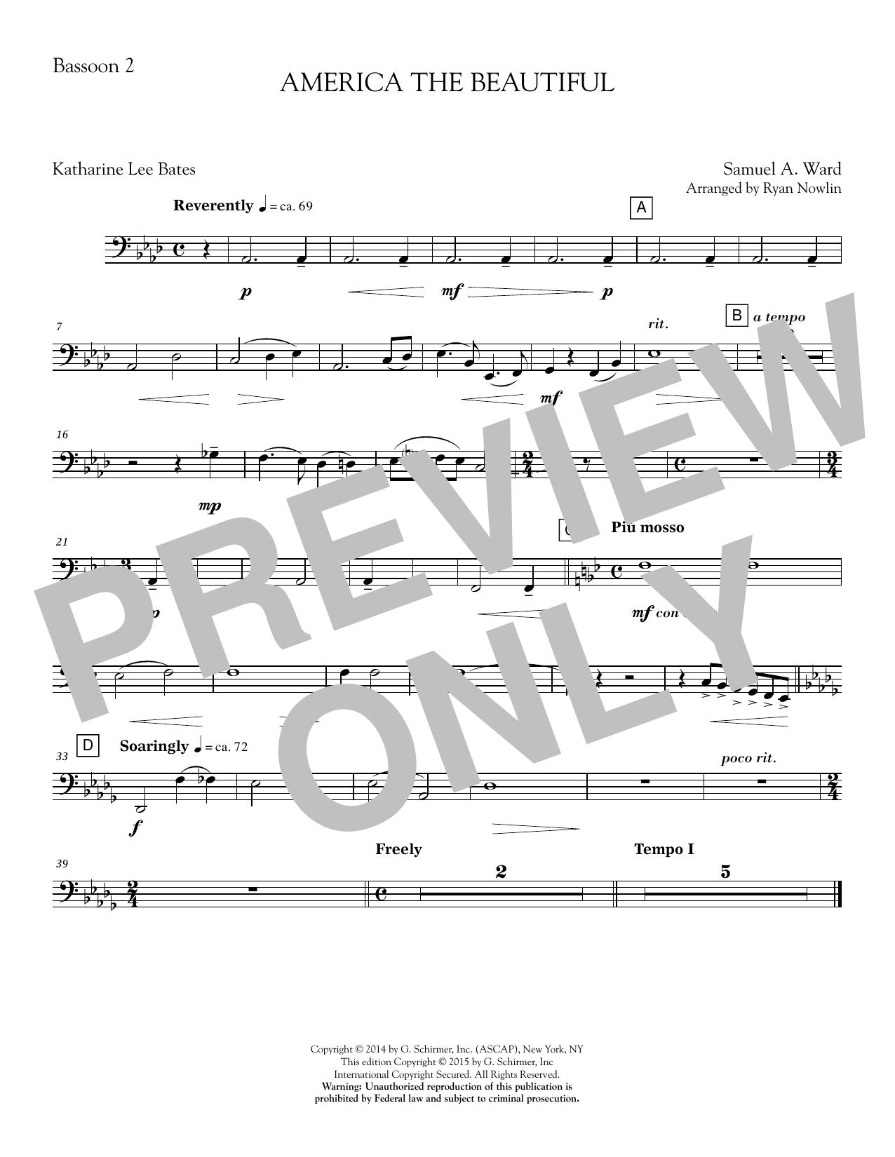 America, the Beautiful - Bassoon 2 Sheet Music