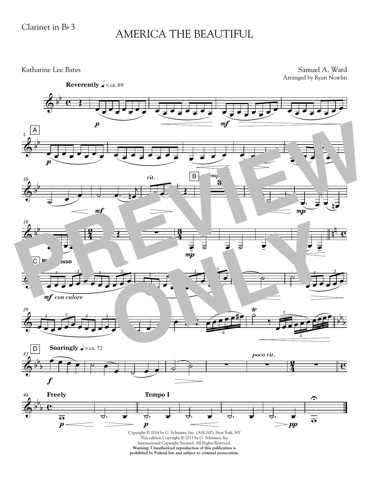 America, the Beautiful - Clarinet 3 Sheet Music