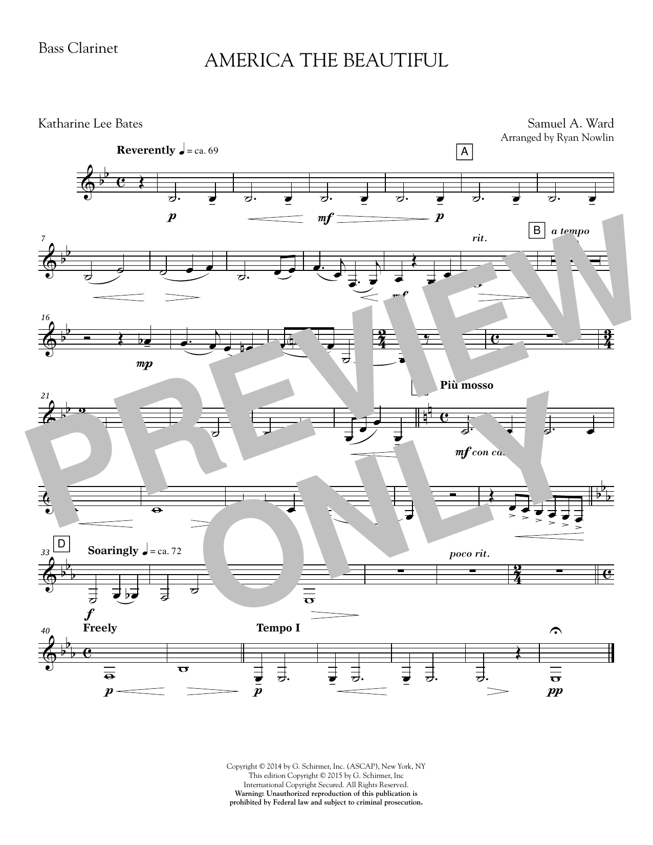 America, the Beautiful - Bass Clarinet in Bb Sheet Music