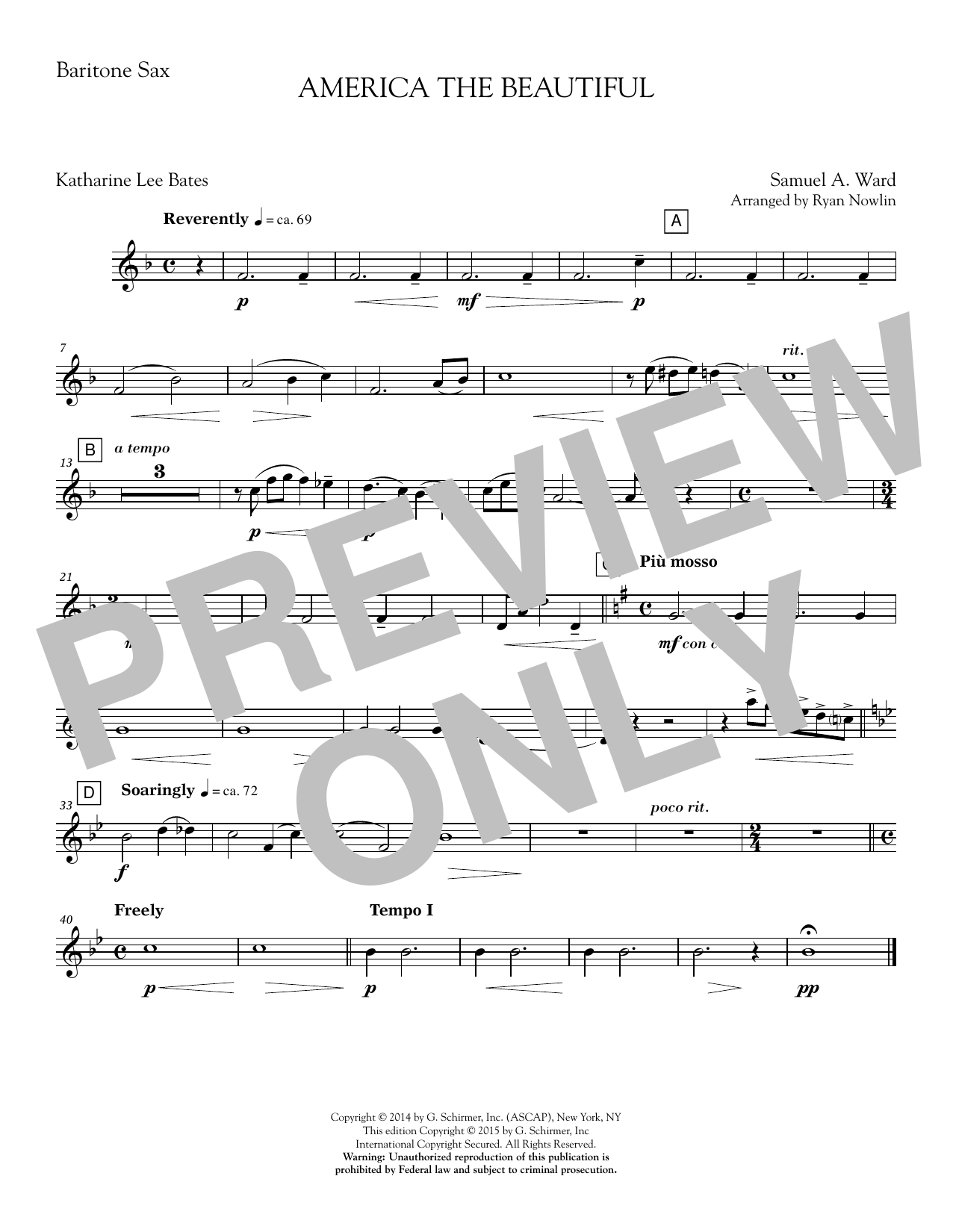 America, the Beautiful - Baritone Sax Sheet Music