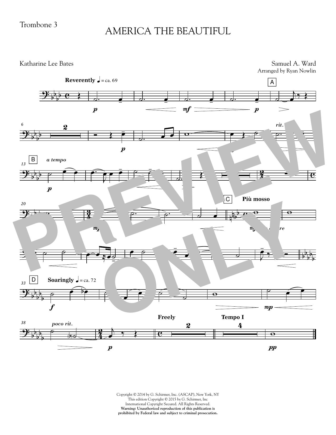 America, the Beautiful - Trombone 3 Sheet Music