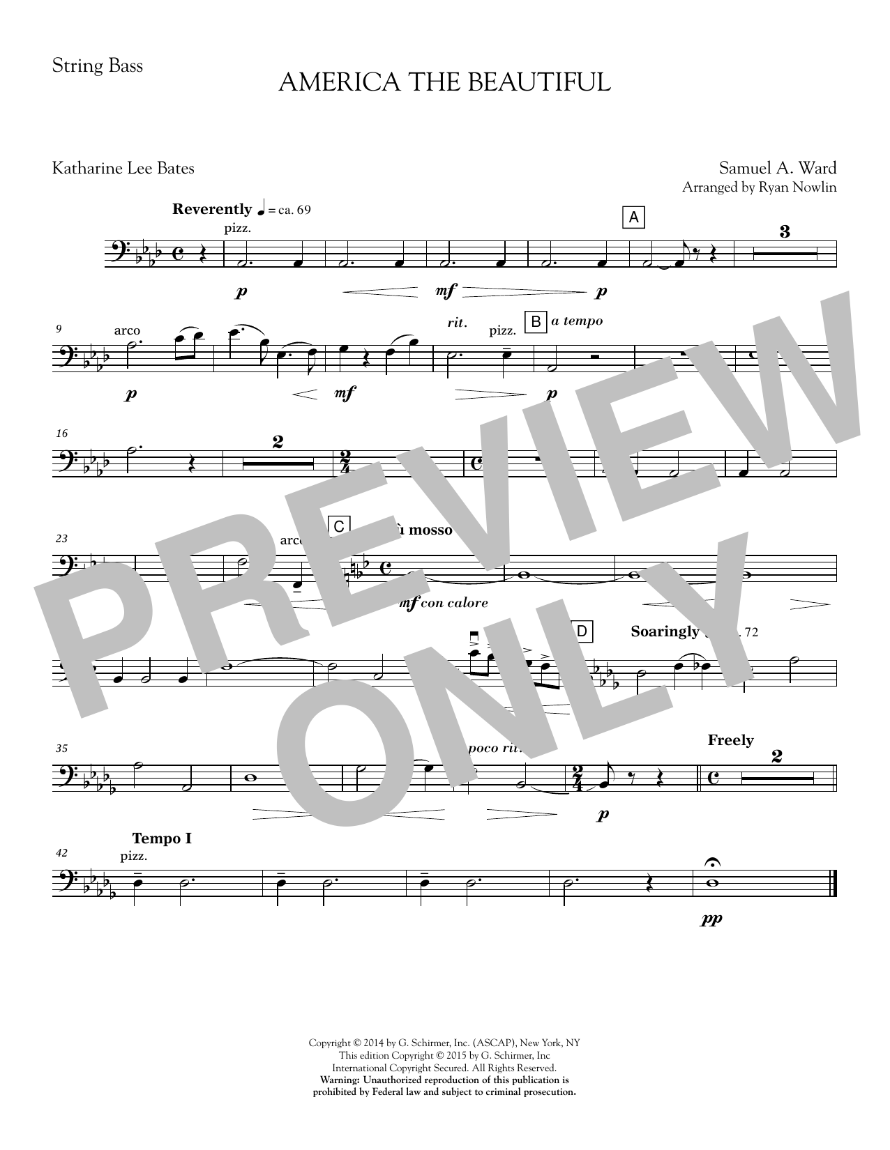 America, the Beautiful - Double Bass Sheet Music