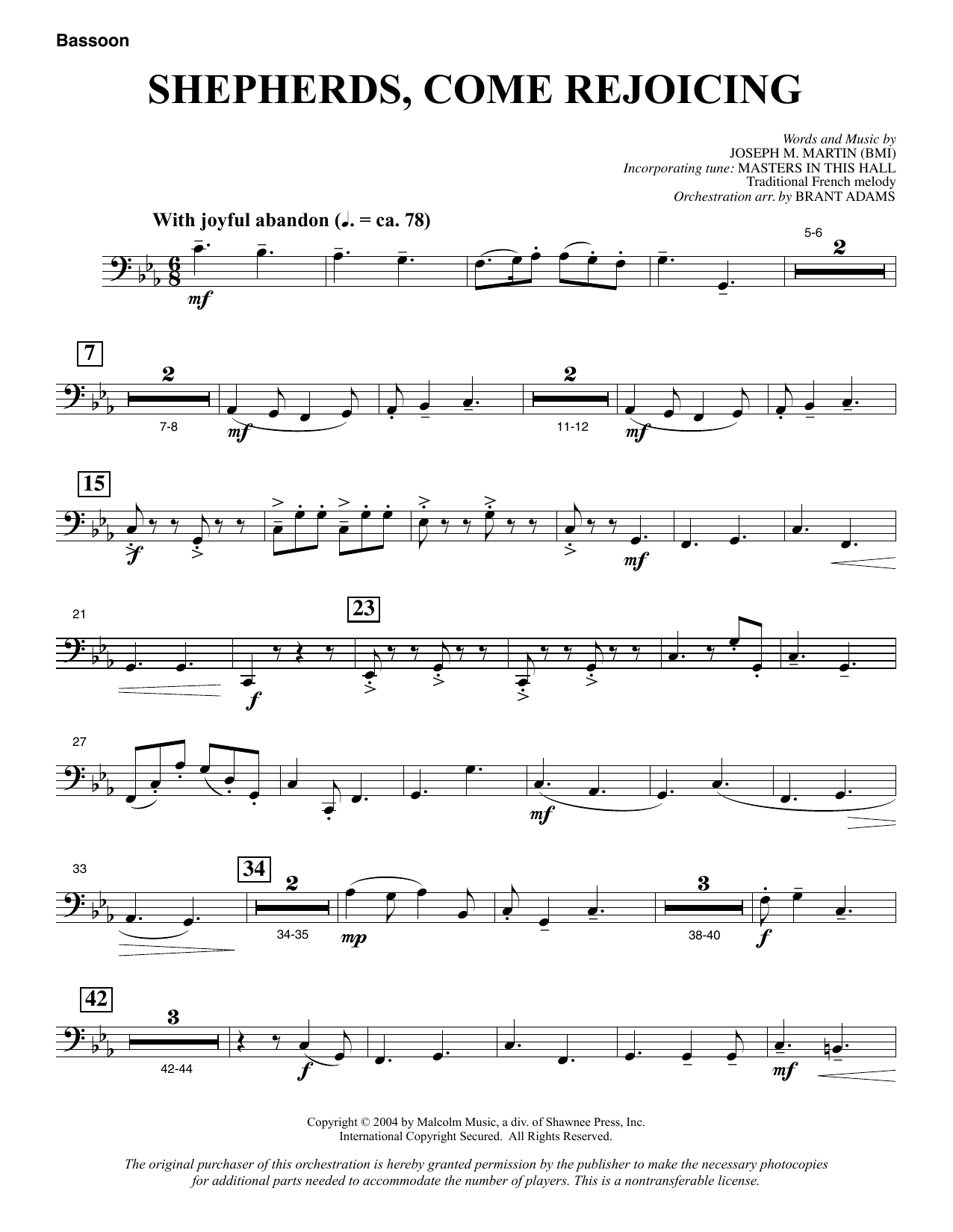 Shepherds, Come Rejoicing (from Voices Of Christmas) - Bassoon (Choir Instrumental Pak)