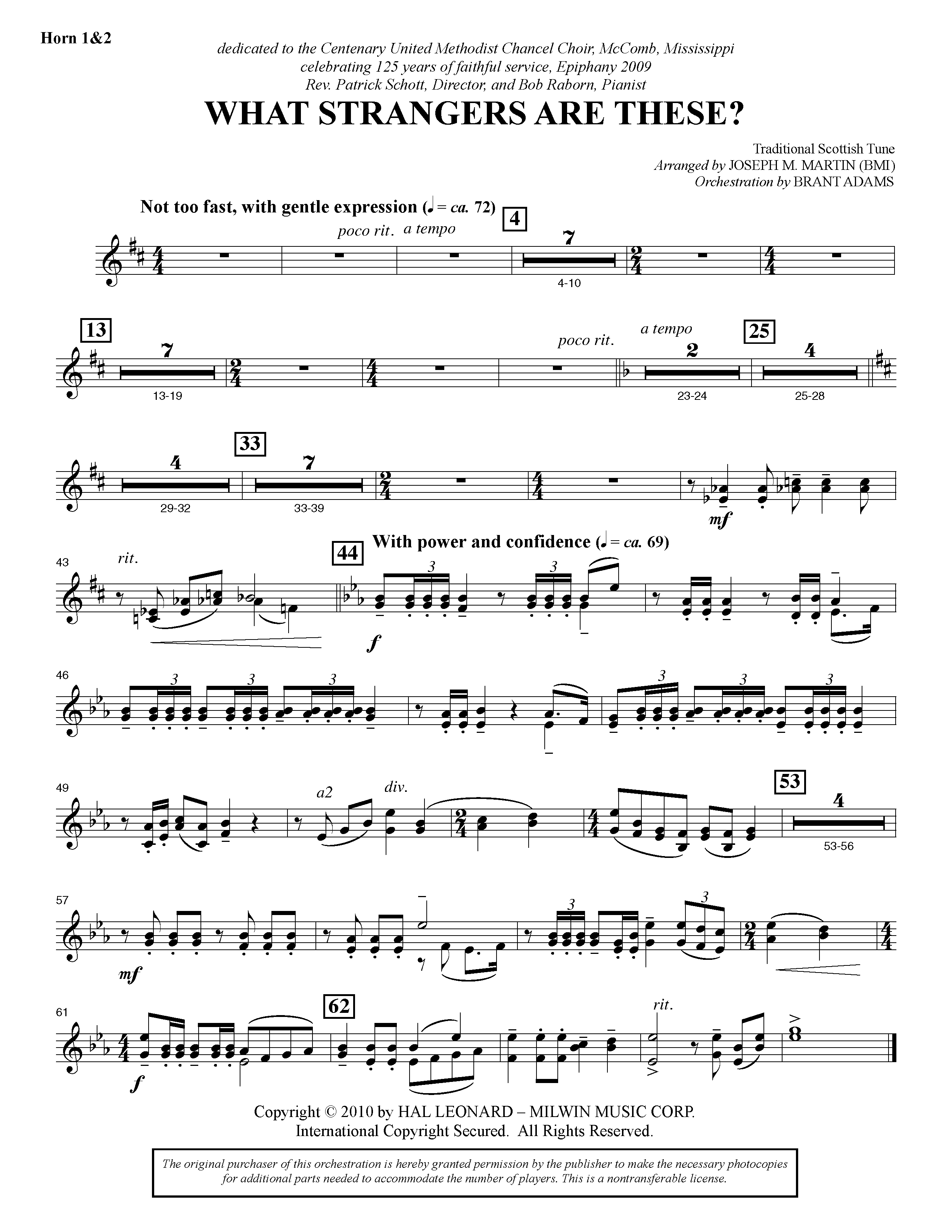 What Strangers Are These? (from Winter's Grace) - F Horn 1 & 2 (Choir Instrumental Pak)