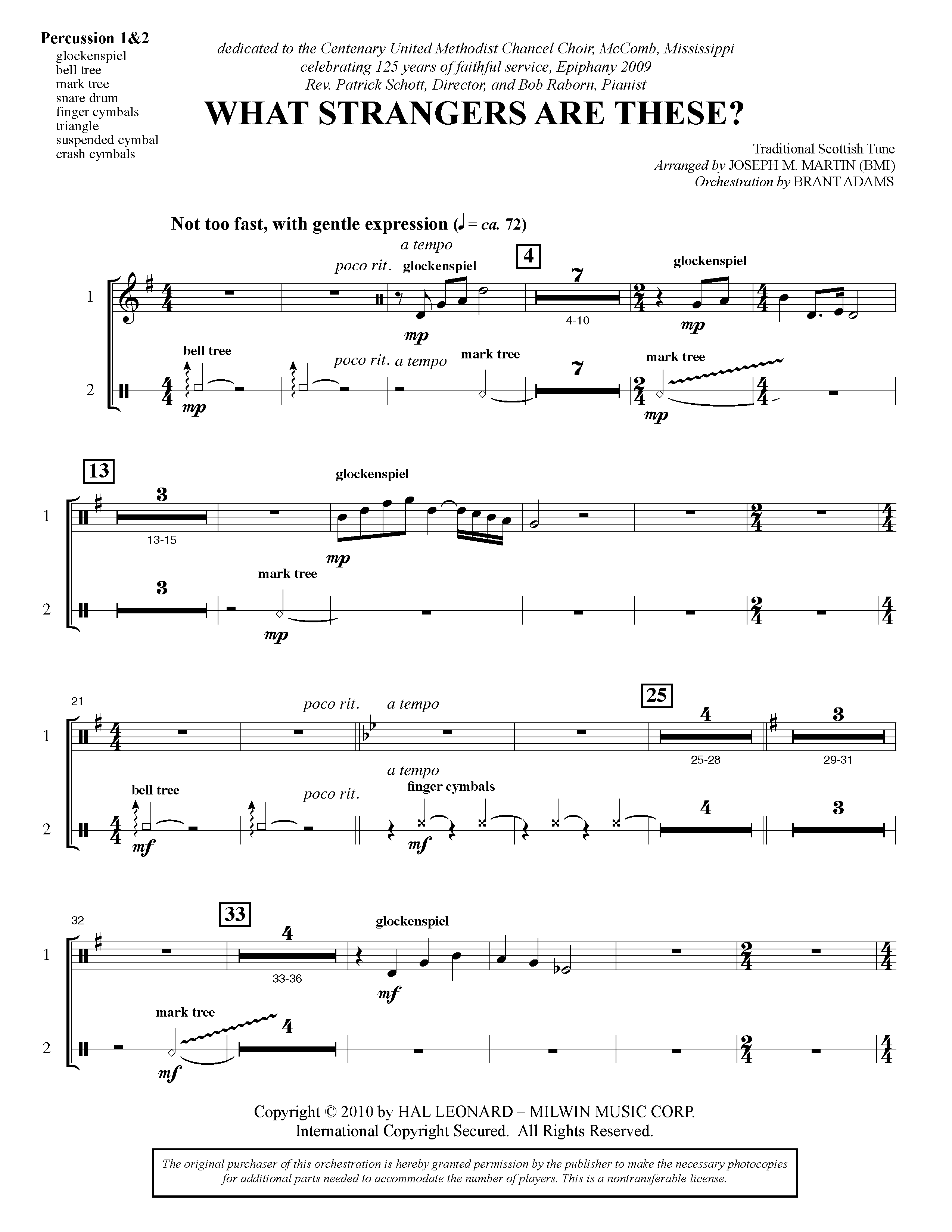 What Strangers Are These? (from Winter's Grace) - Percussion 1 & 2 (Choir Instrumental Pak)
