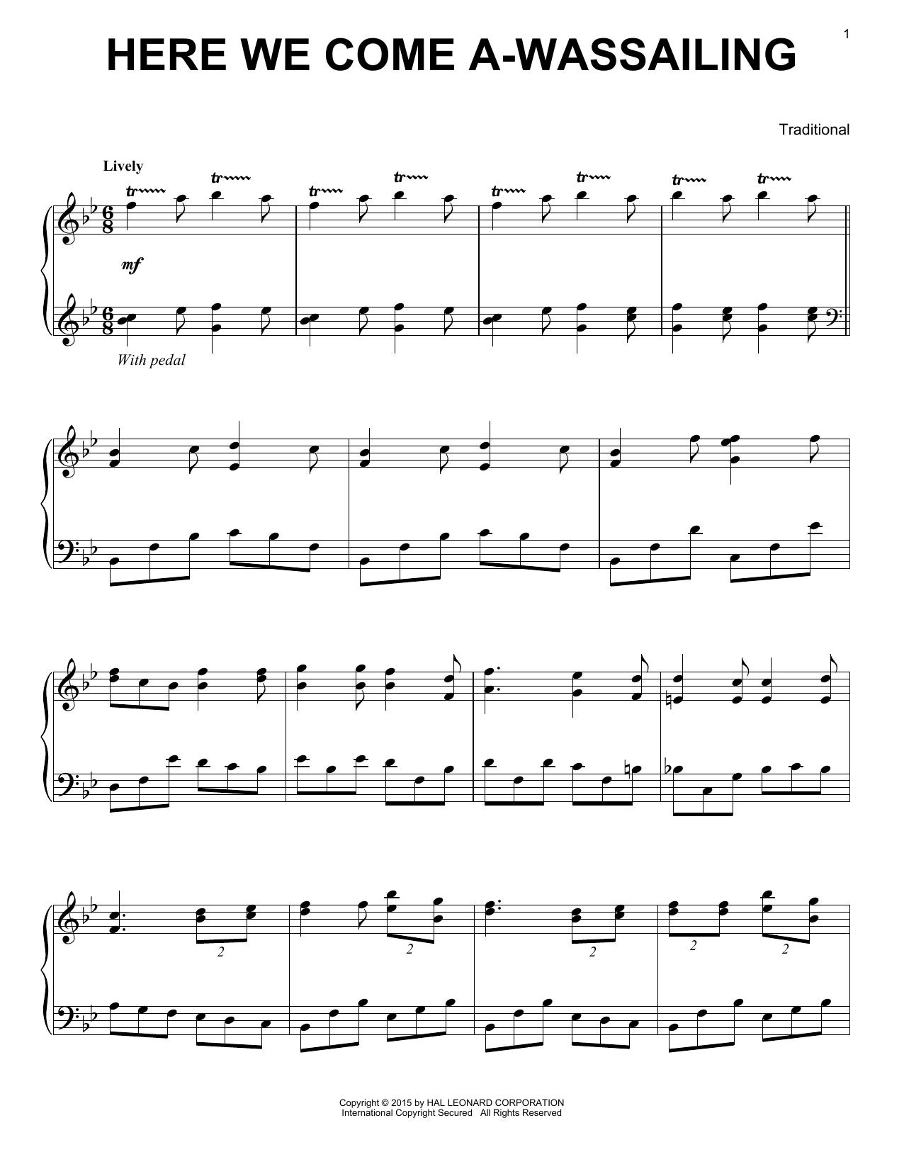 Partition piano Here We Come A-Wassailing de Traditional - Piano Solo