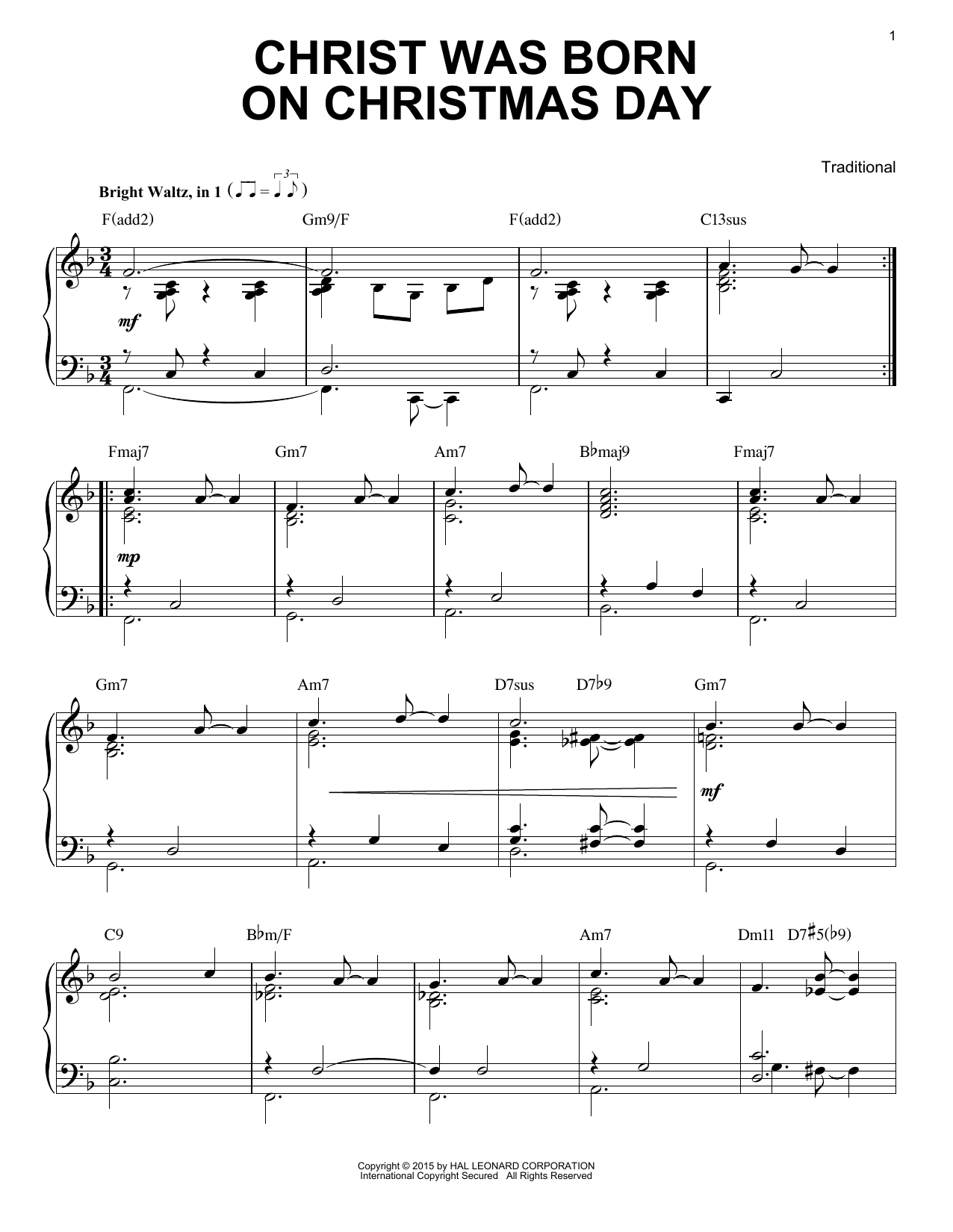 Partition piano Christ Was Born On Christmas Day de Traditional - Piano Solo