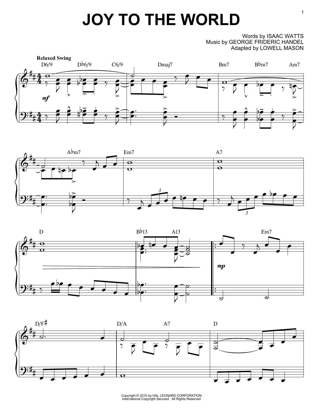 Partition piano Joy To The World de George Frideric Handel - Piano Solo