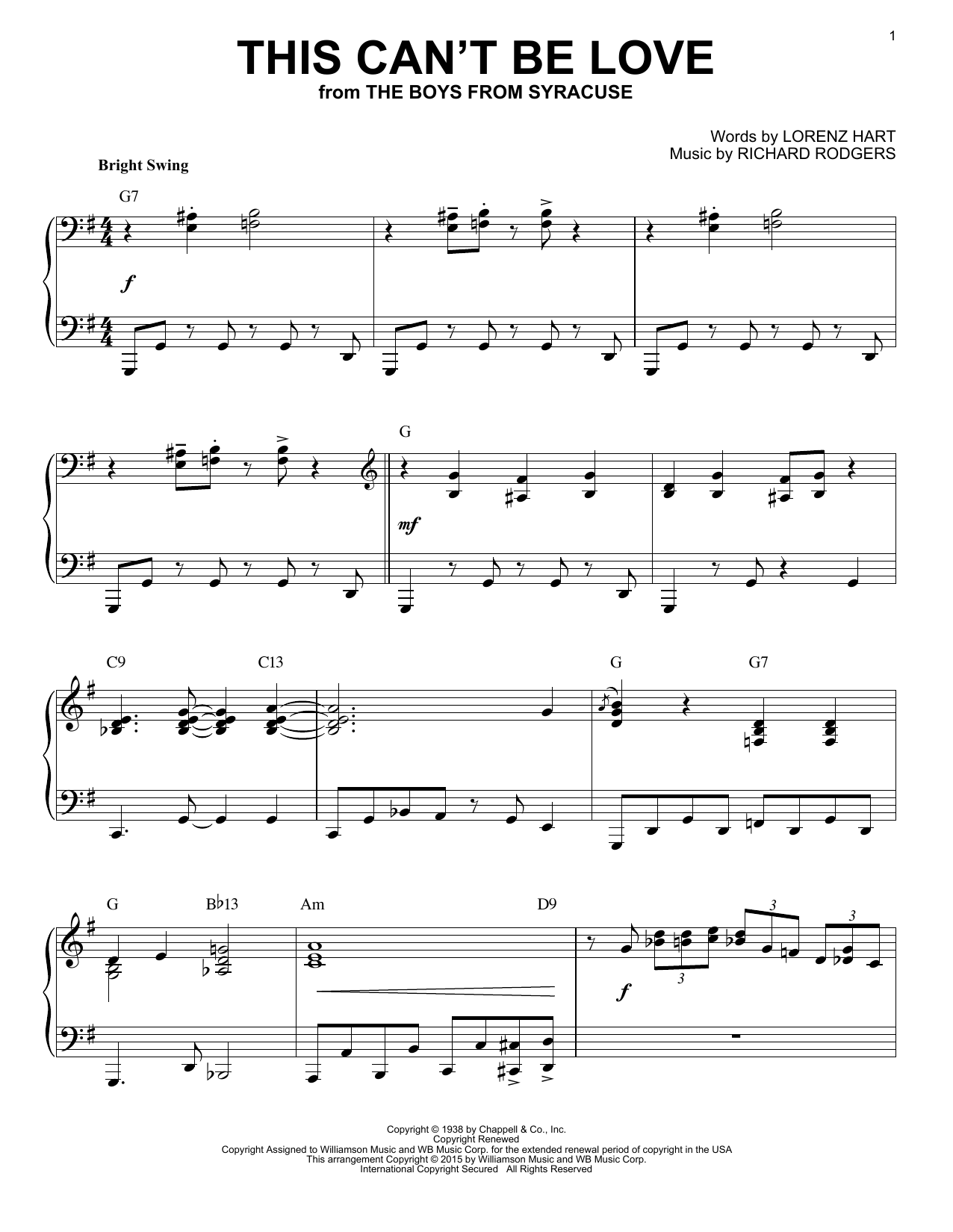 Partition piano This Can't Be Love de Rodgers & Hart - Piano Solo