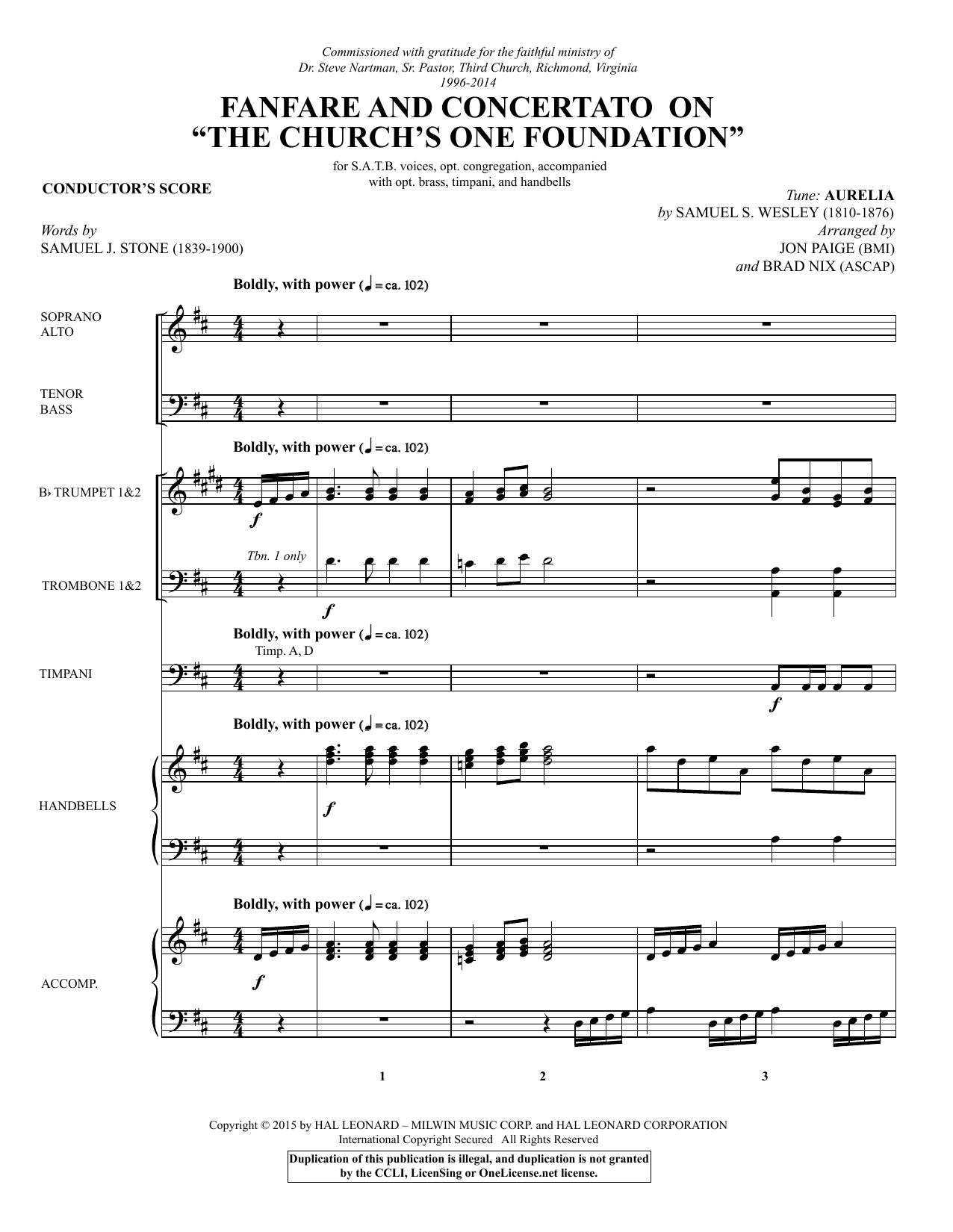 "Fanfare and Concertato on ""The Church's One Foundation"" - Full Score Sheet Music"