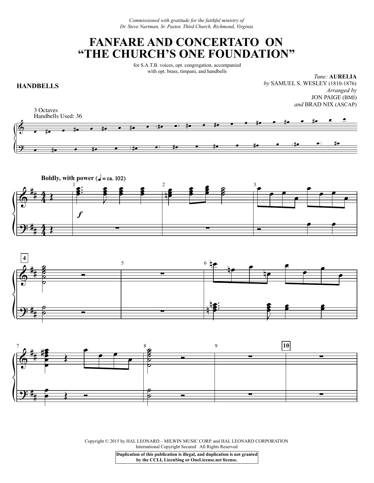 "Fanfare and Concertato on ""The Church's One Foundation"" - Handbells (Choir Instrumental Pak)"