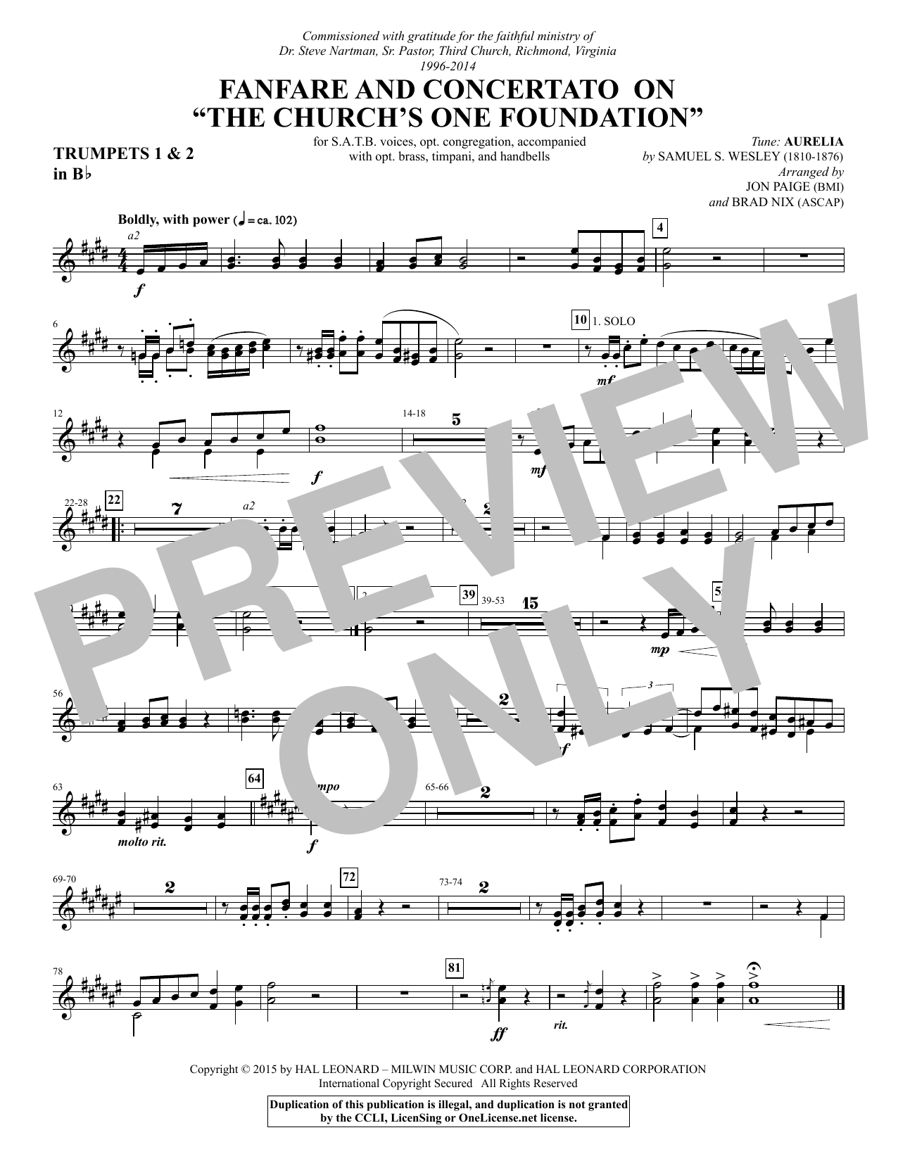 """Fanfare and Concertato on """"The Church's One Foundation"""" - Bb Trumpet 1,2 (Choir Instrumental Pak)"""
