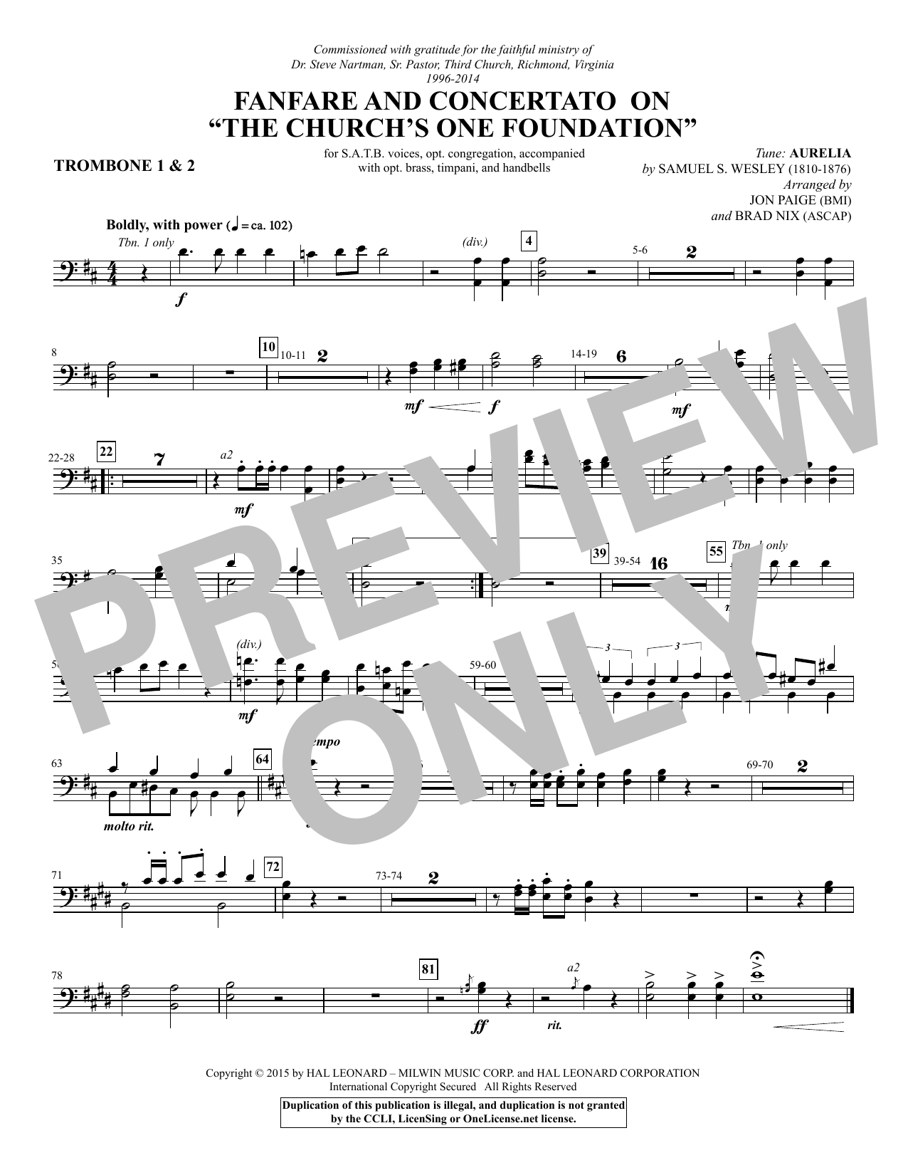 """Fanfare and Concertato on """"The Church's One Foundation"""" - Trombone 1 & 2 Sheet Music"""