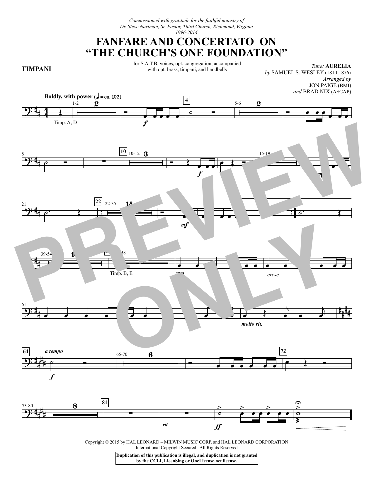 "Fanfare and Concertato on ""The Church's One Foundation"" - Timpani Sheet Music"