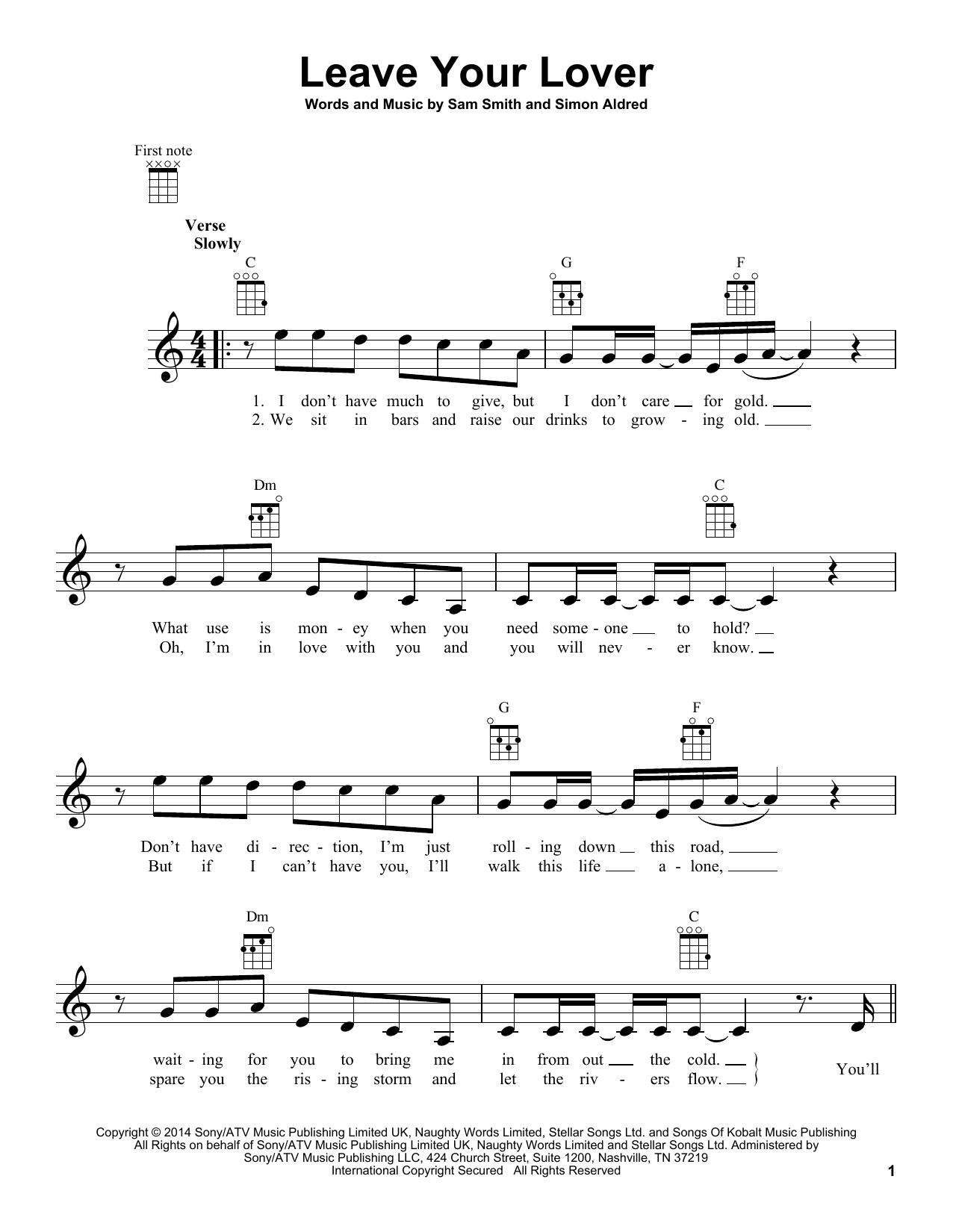 Tablature guitare Leave Your Lover de Sam Smith - Ukulele
