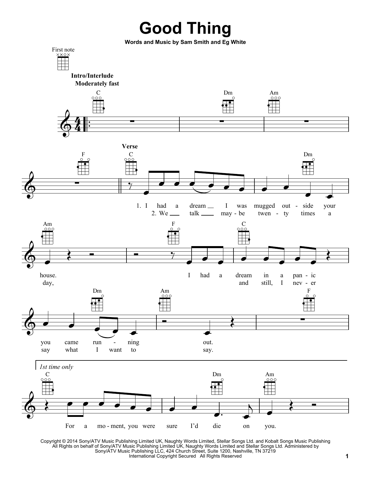 Tablature guitare Good Thing de Sam Smith - Ukulele