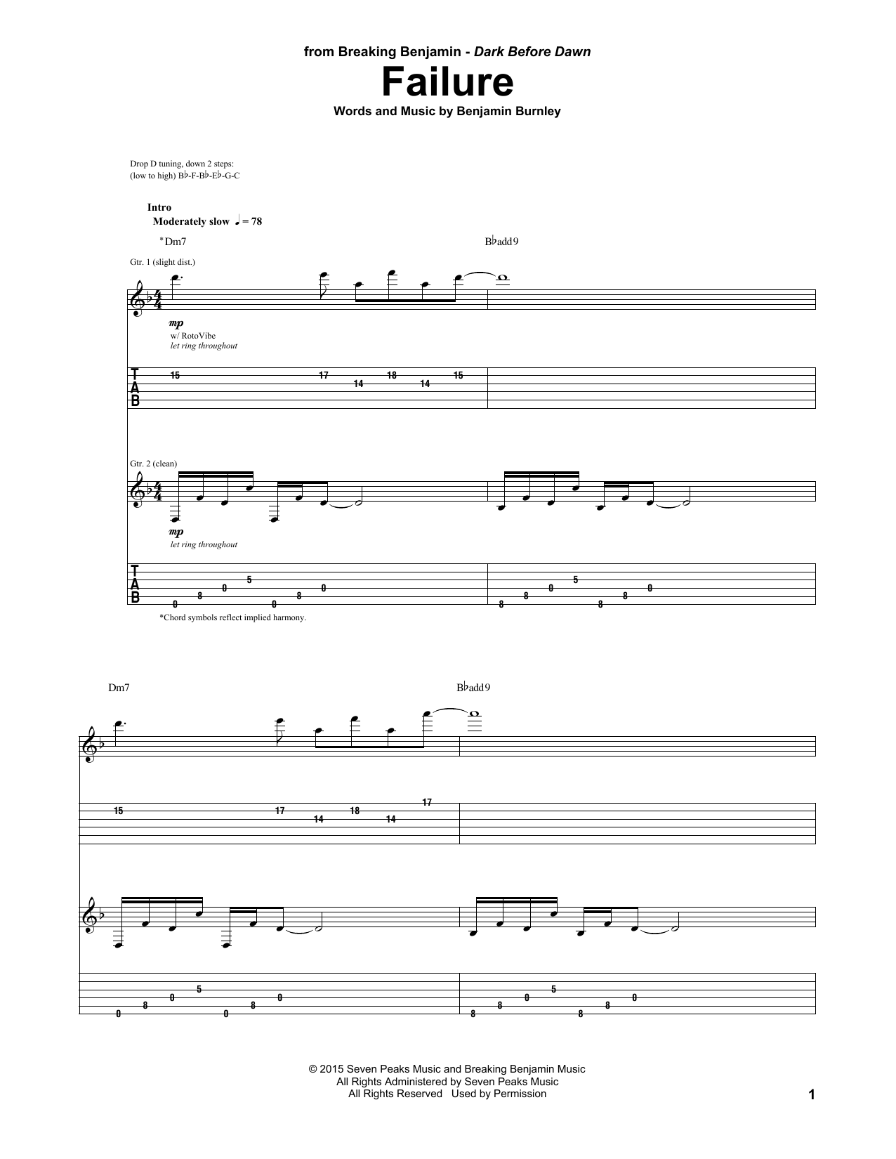 Tablature guitare Failure de Breaking Benjamin - Tablature Guitare