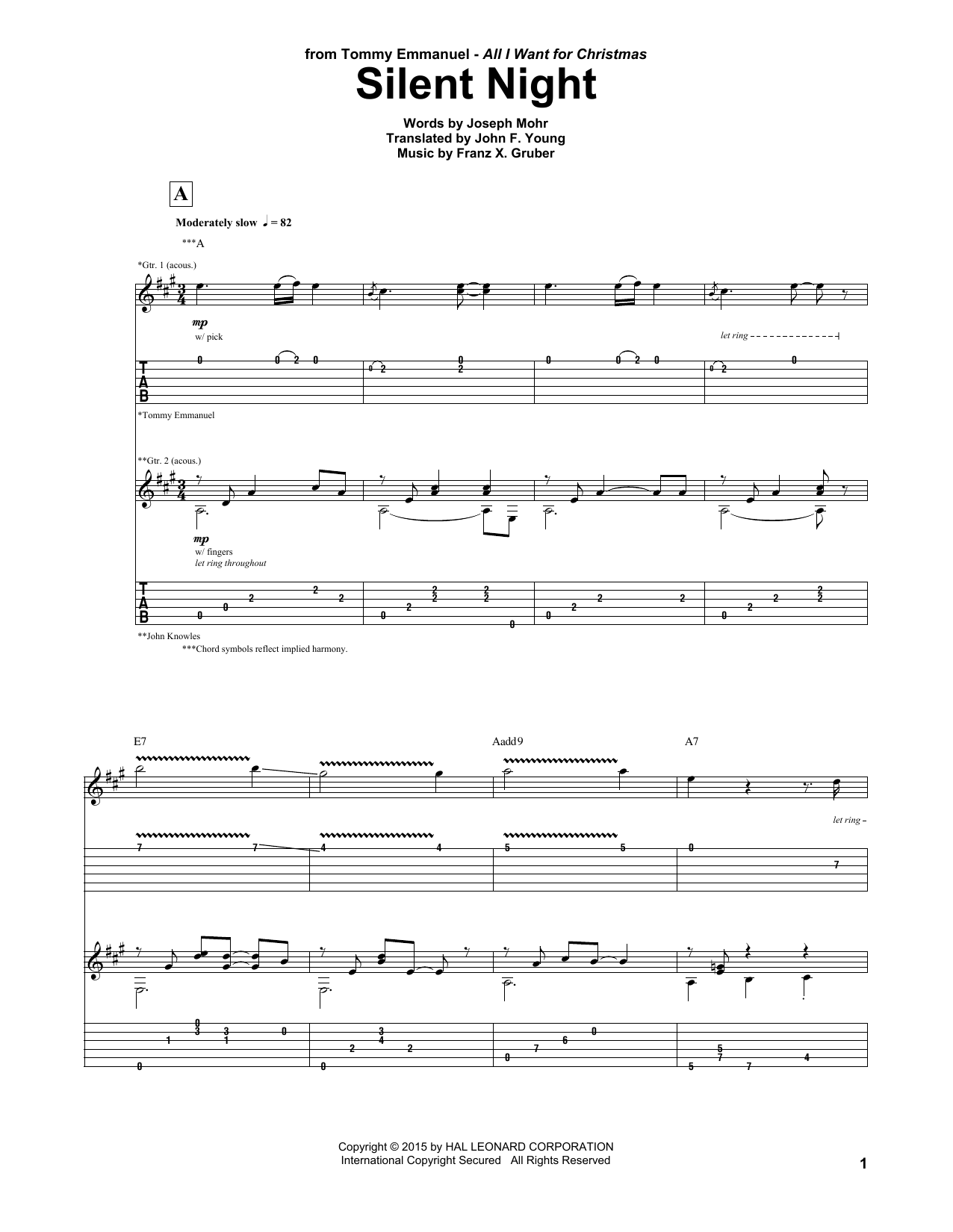 Tablature guitare Silent Night de Tommy Emmanuel - Tablature Guitare