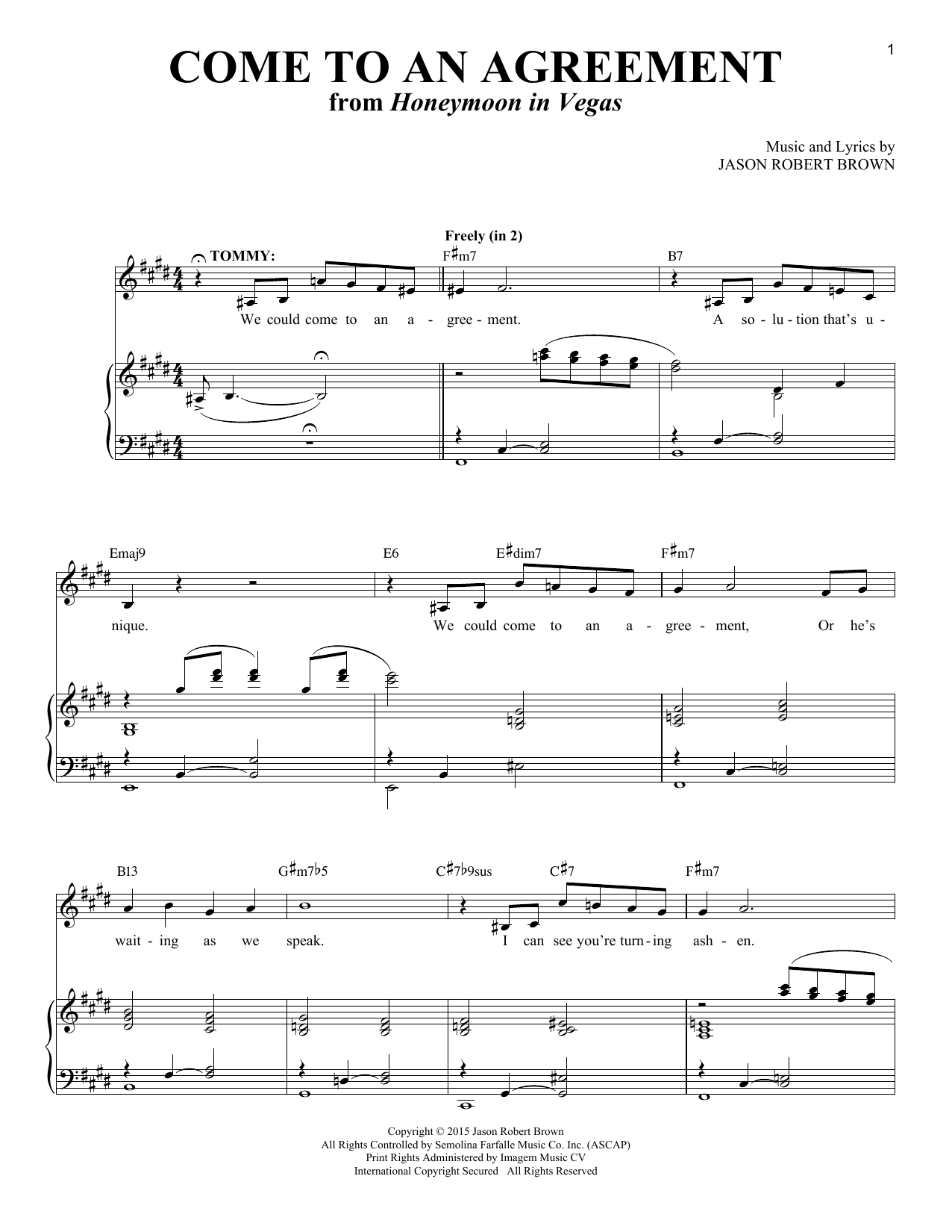 Come To An Agreement Sheet Music