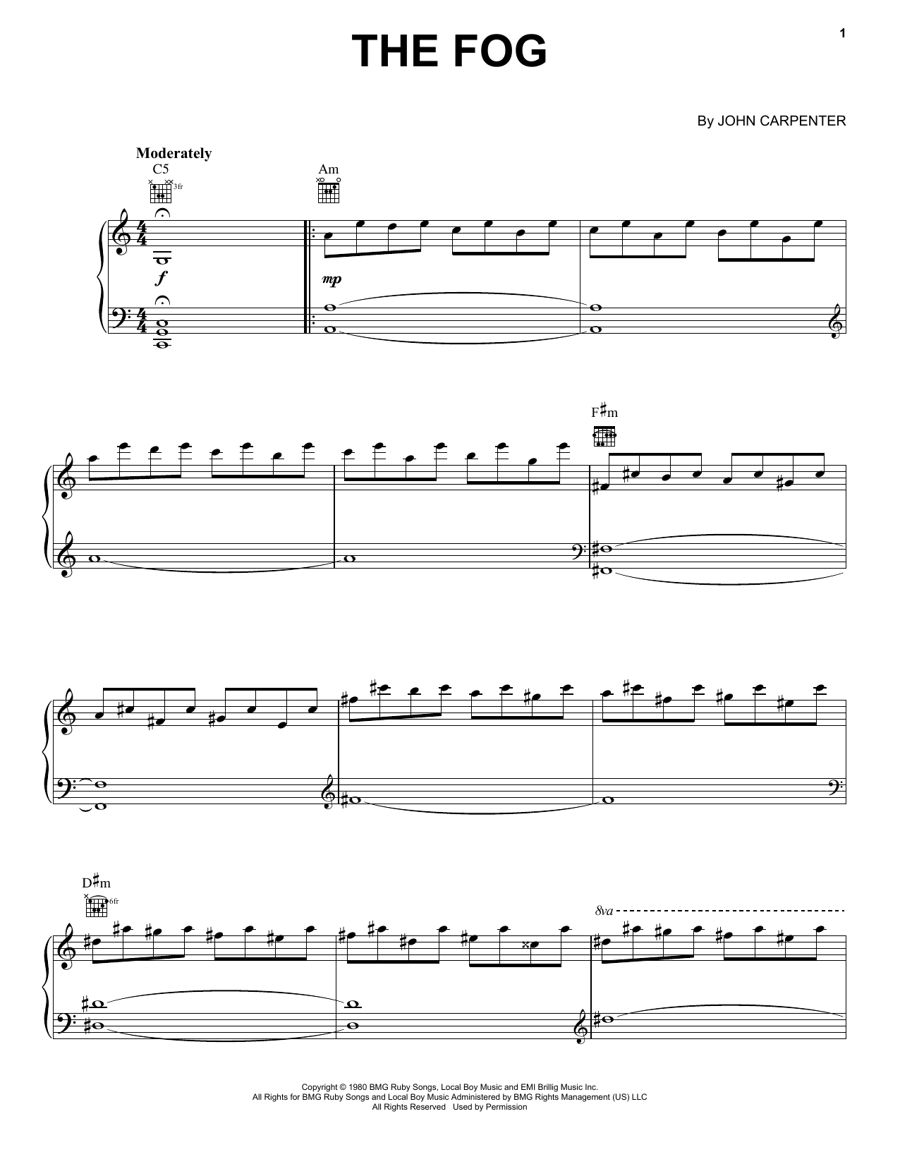Partition piano The Fog de John Carpenter - Piano Solo
