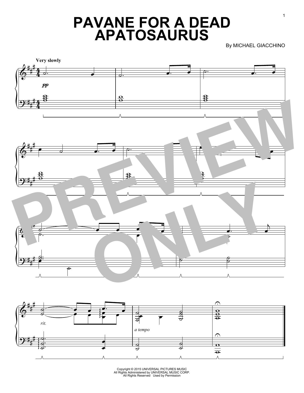 Pavane For A Dead Apatosaurus (Piano Solo)