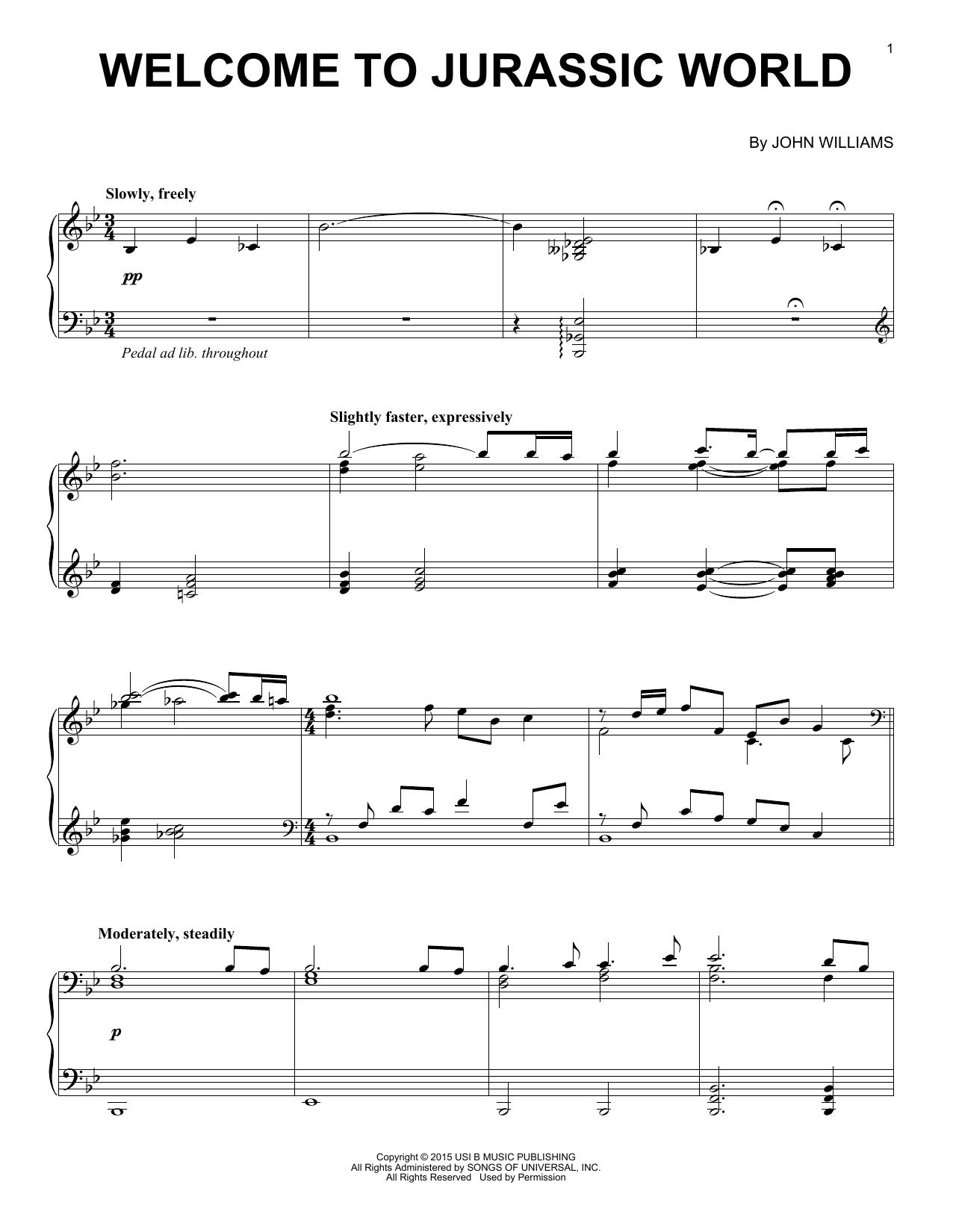 Partition piano Welcome To Jurassic World de Michael Giacchino - Piano Solo