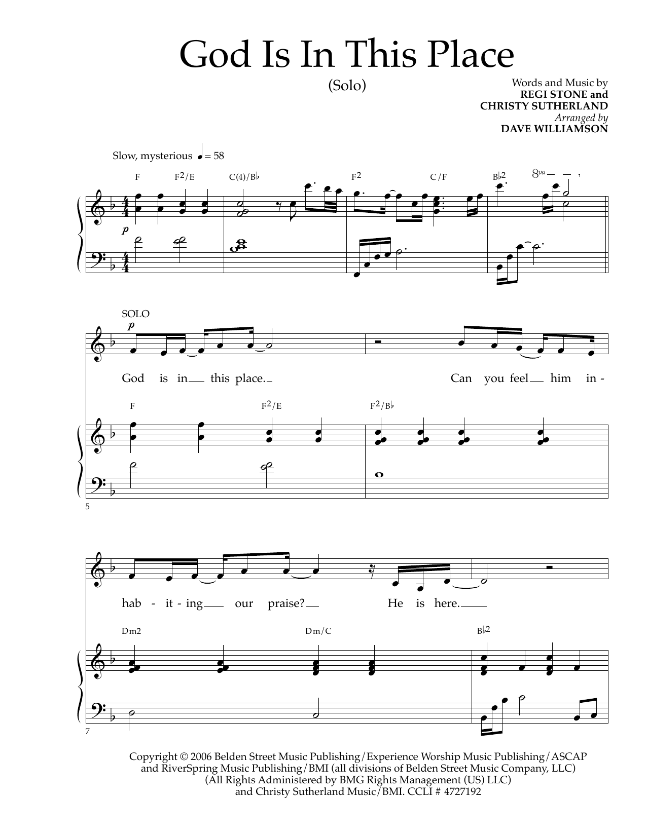 God Is In This Place Sheet Music