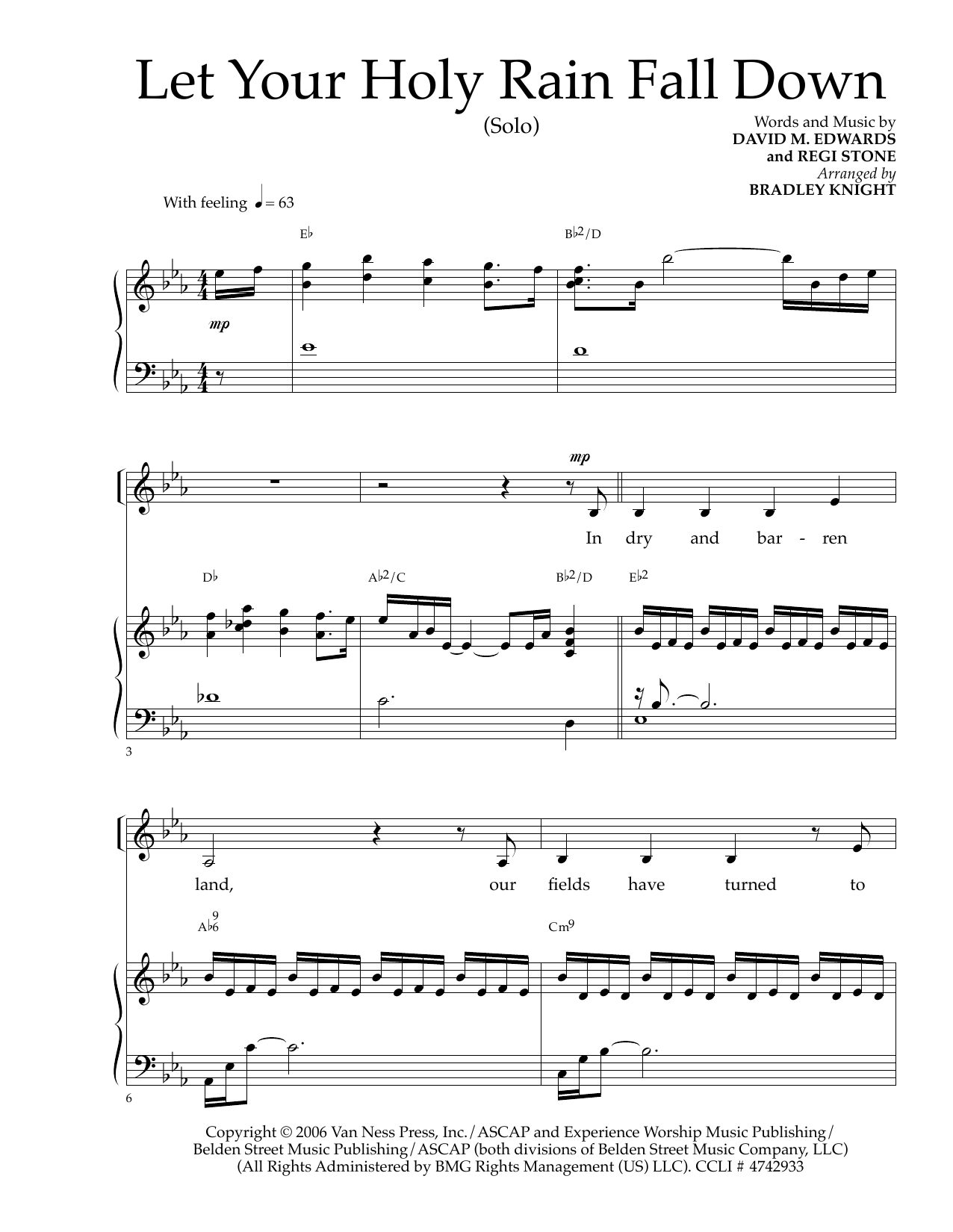 Let Your Holy Rain Fall Down Sheet Music