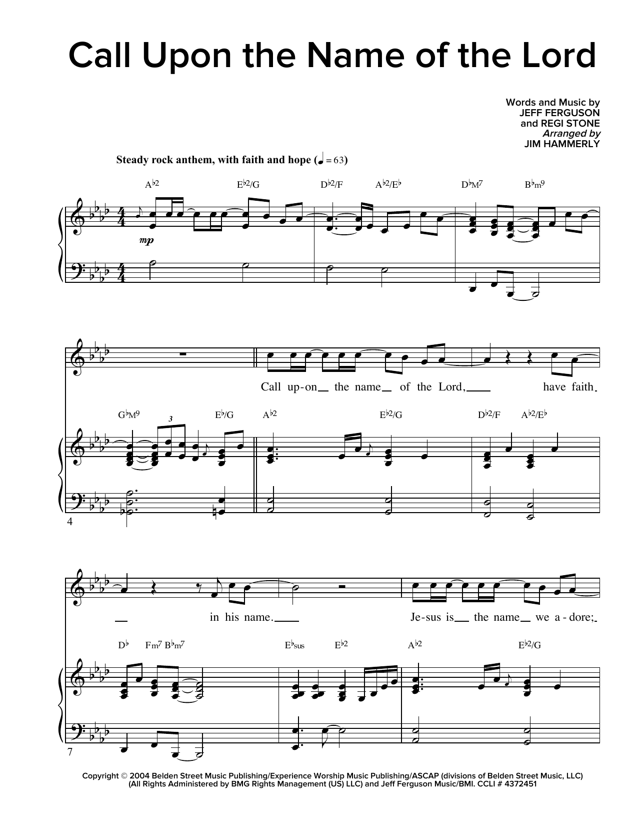 Call Upon The Name Of The Lord Sheet Music