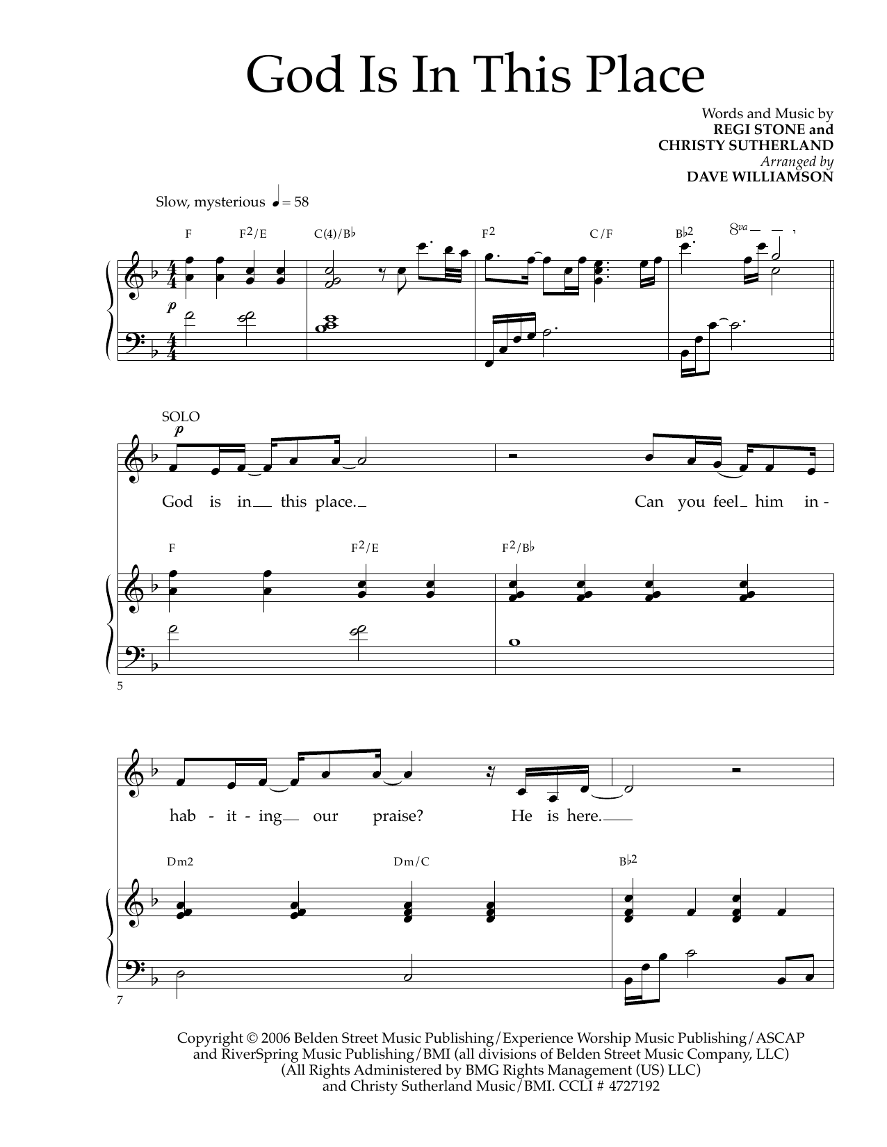 God Is In This Place (arr. Dave Williamson) Sheet Music