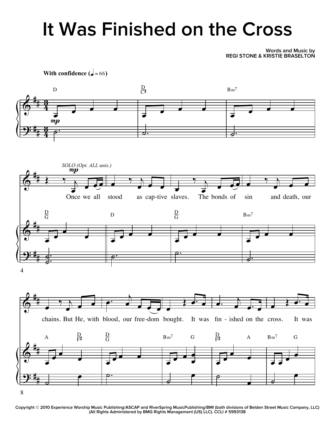 Partition chorale It Was Finished On The Cross de Regi Stone - SATB