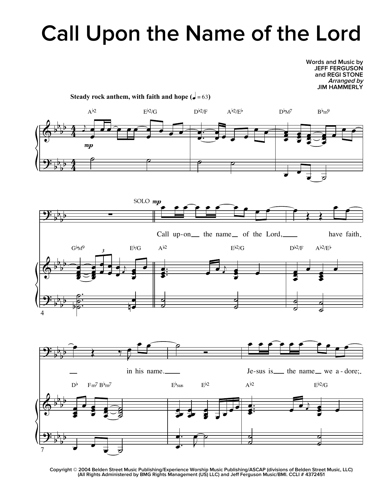 Partition chorale Call Upon The Name Of The Lord de Regi Stone - SATB
