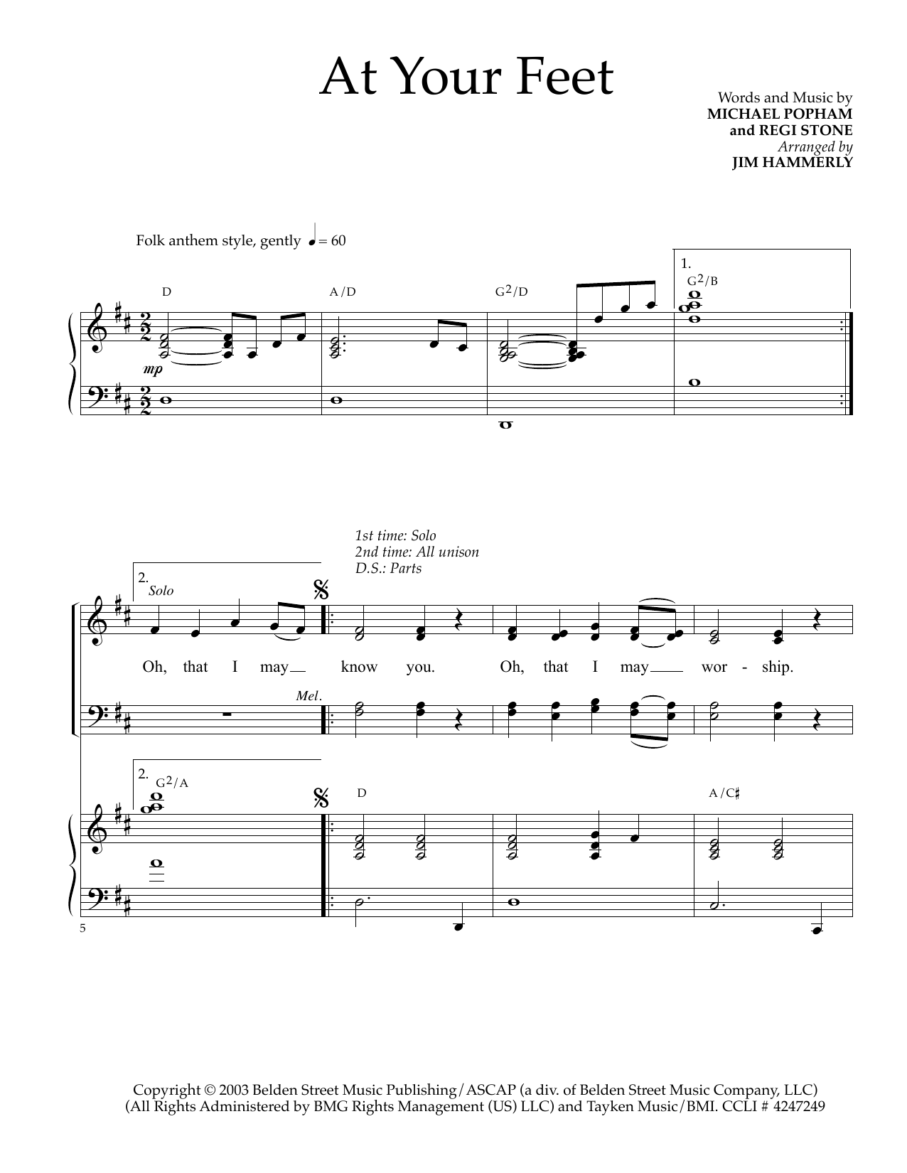 At Your Feet (arr. Jim Hammerly) Sheet Music