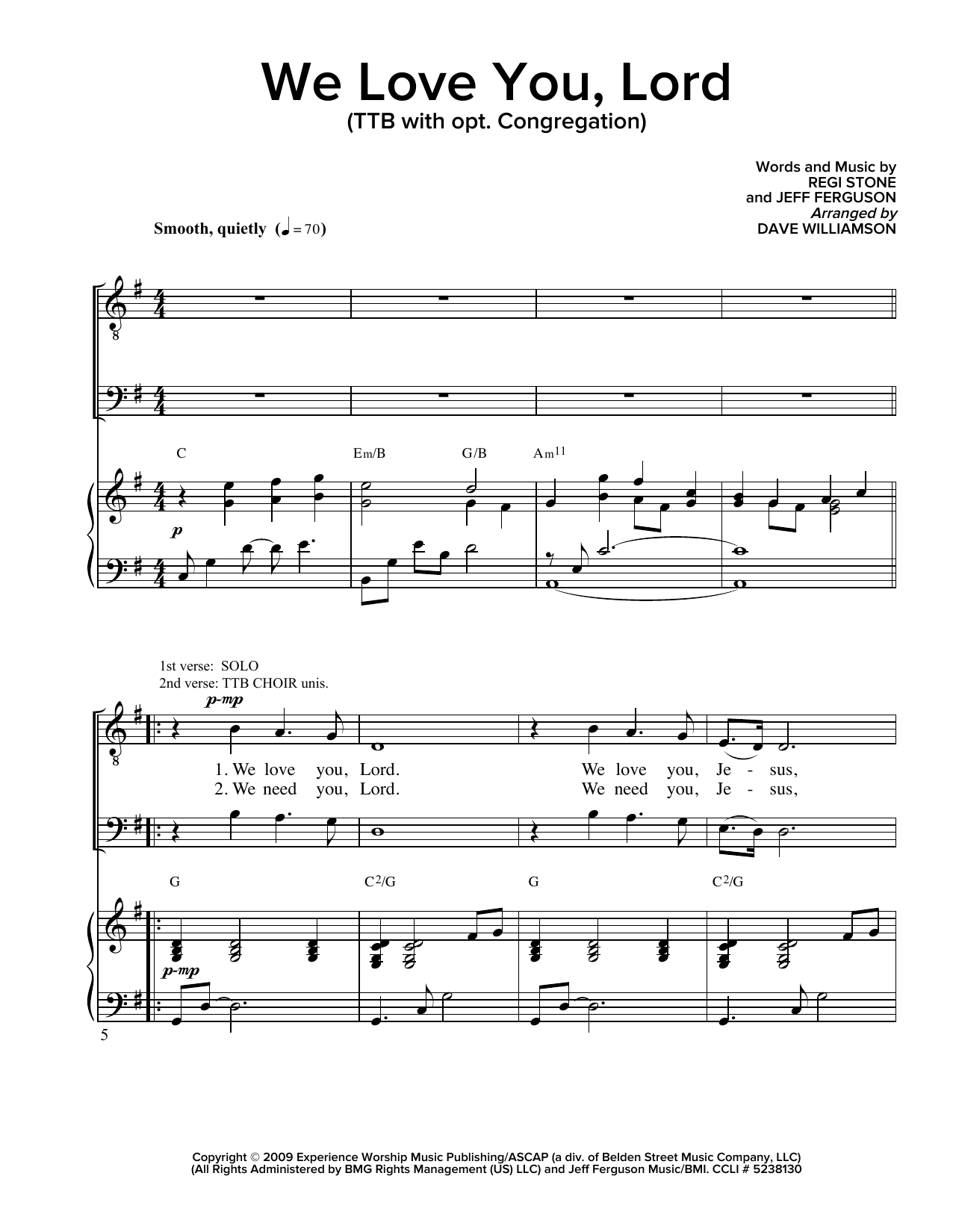 Partition chorale We Love You Lord de Regi Stone - SATB