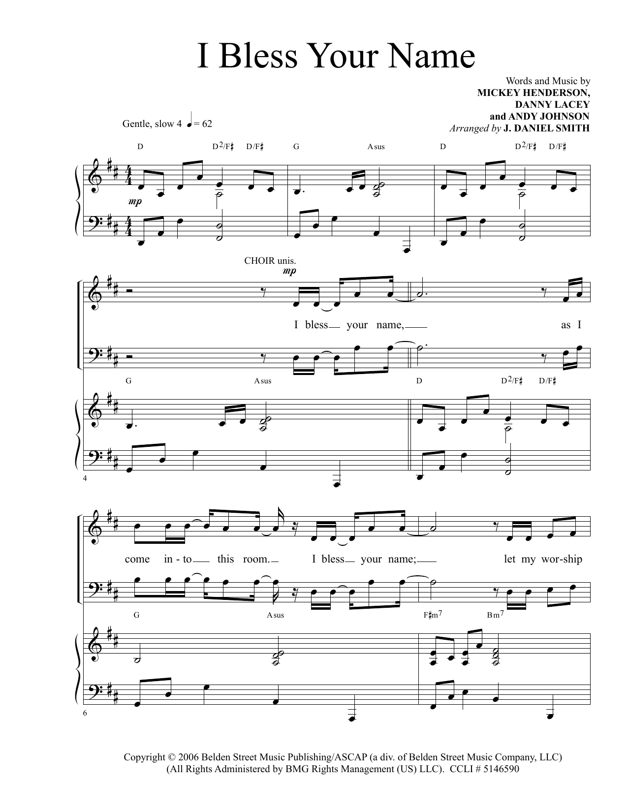 I Bless Your Name Sheet Music